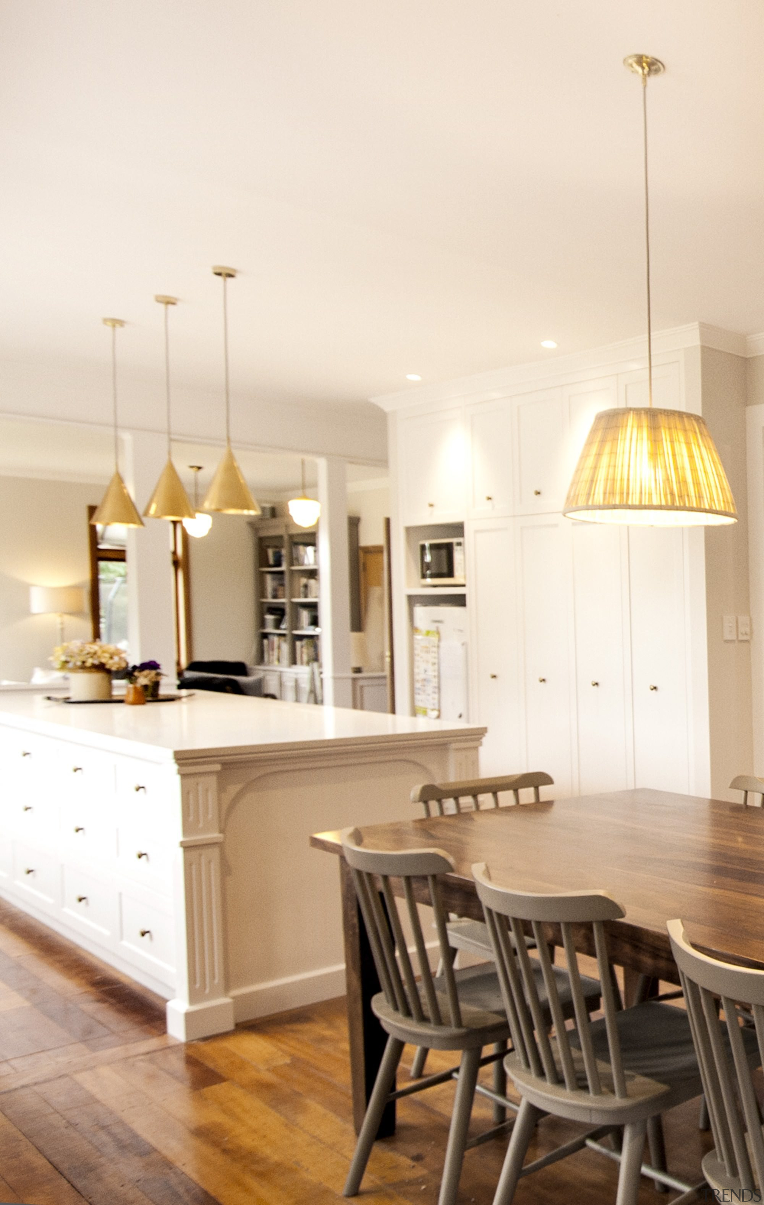 TIDA NZ 2017 – Designer kitchen entrant – ceiling, countertop, cuisine classique, dining room, floor, flooring, furniture, hardwood, home, interior design, kitchen, light fixture, lighting, room, table, wood flooring, white