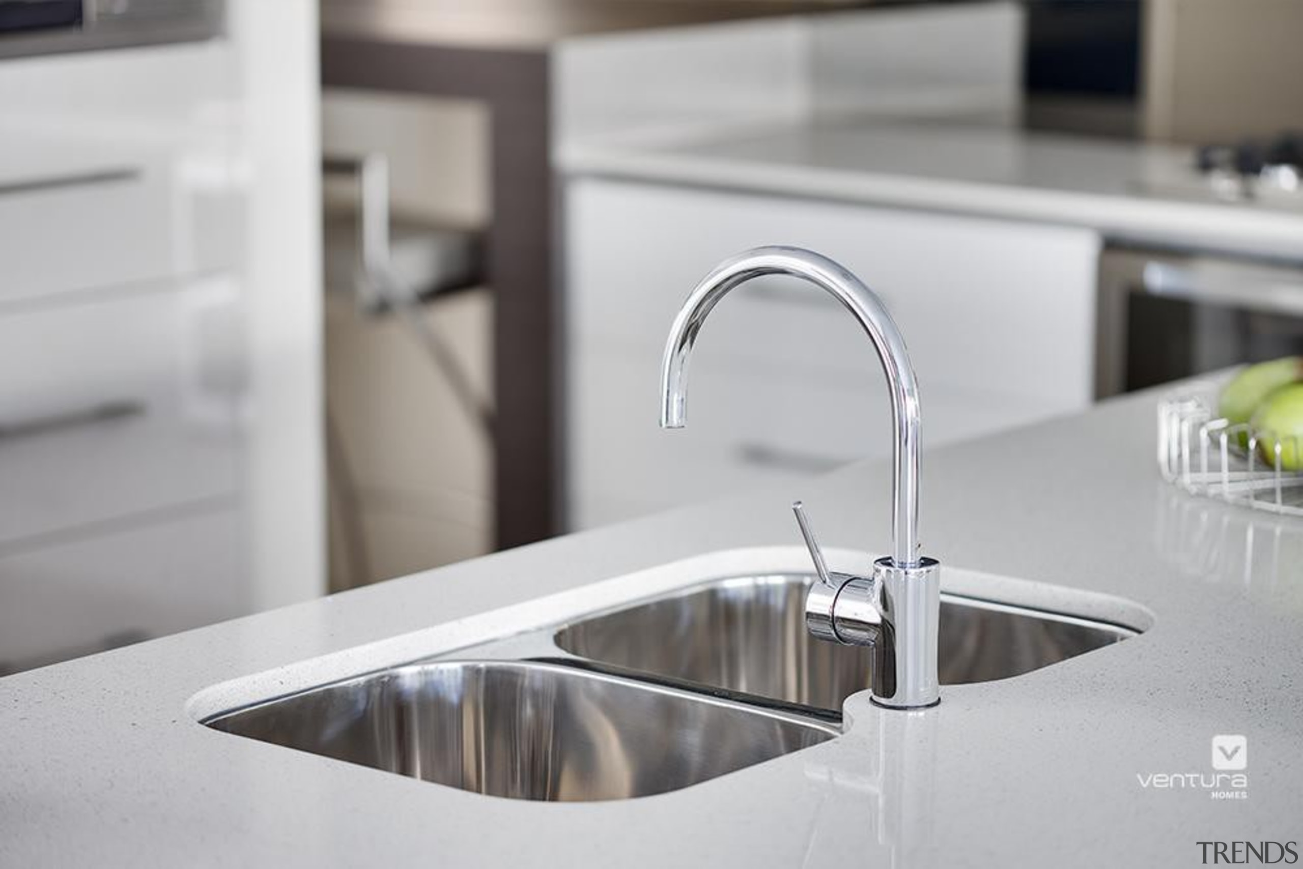 Kitchen design. - The New Dimension Display Home bathroom sink, countertop, kitchen, plumbing fixture, product design, sink, tap, gray