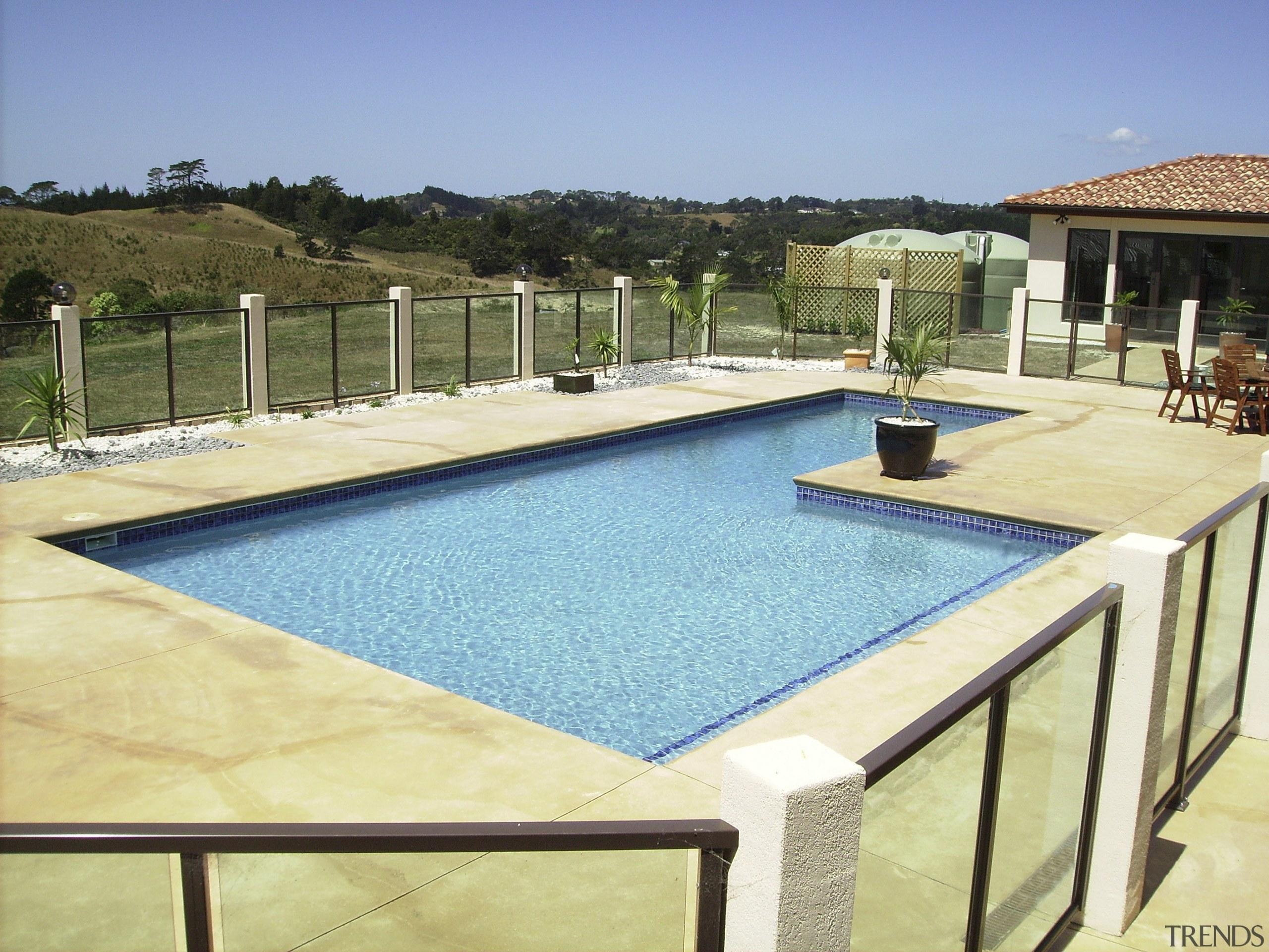 View of contemporary pool - View of contemporary leisure, property, real estate, resort, swimming pool, villa, yellow, teal
