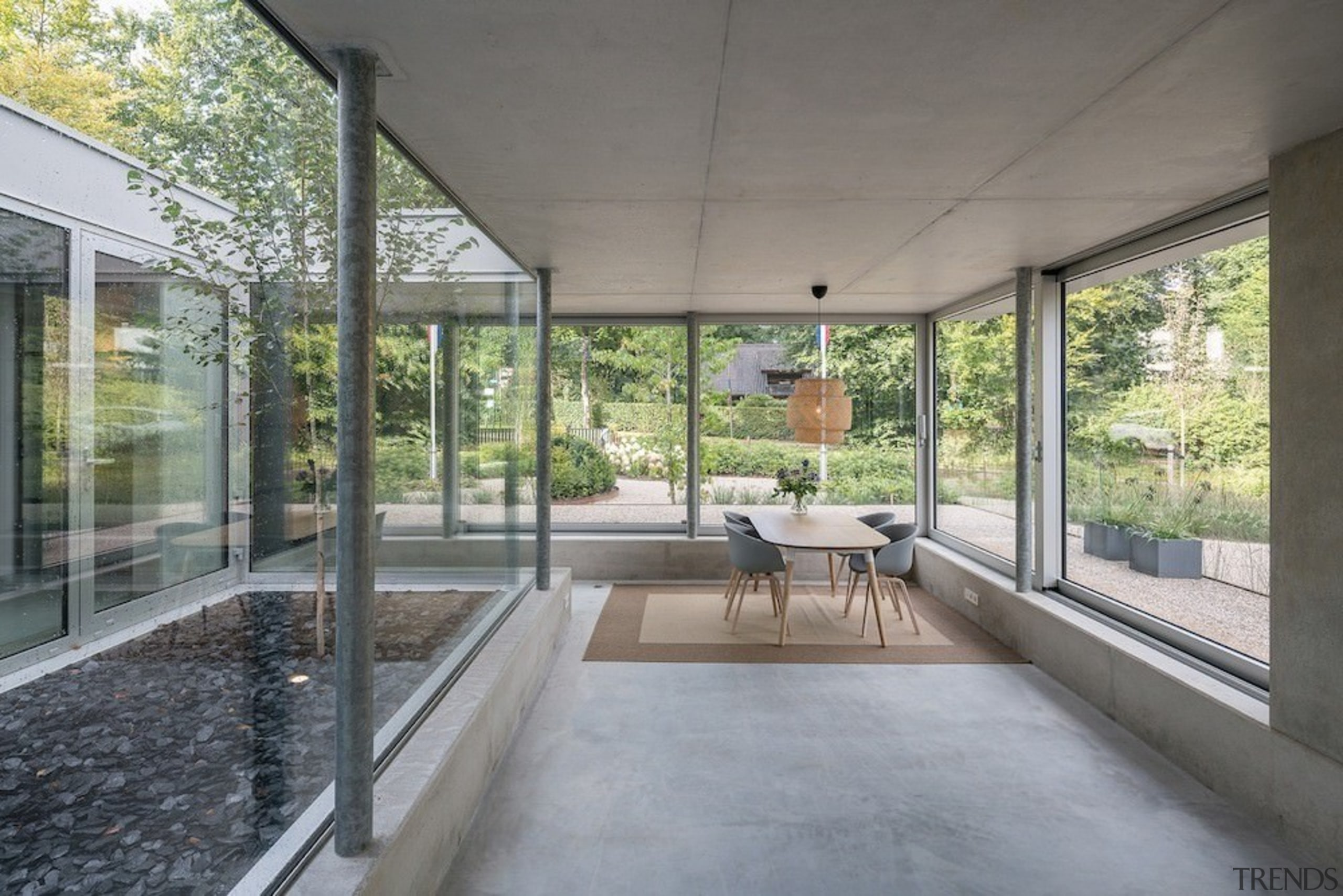A view of the seating area with views architecture, daylighting, house, porch, real estate, window, gray