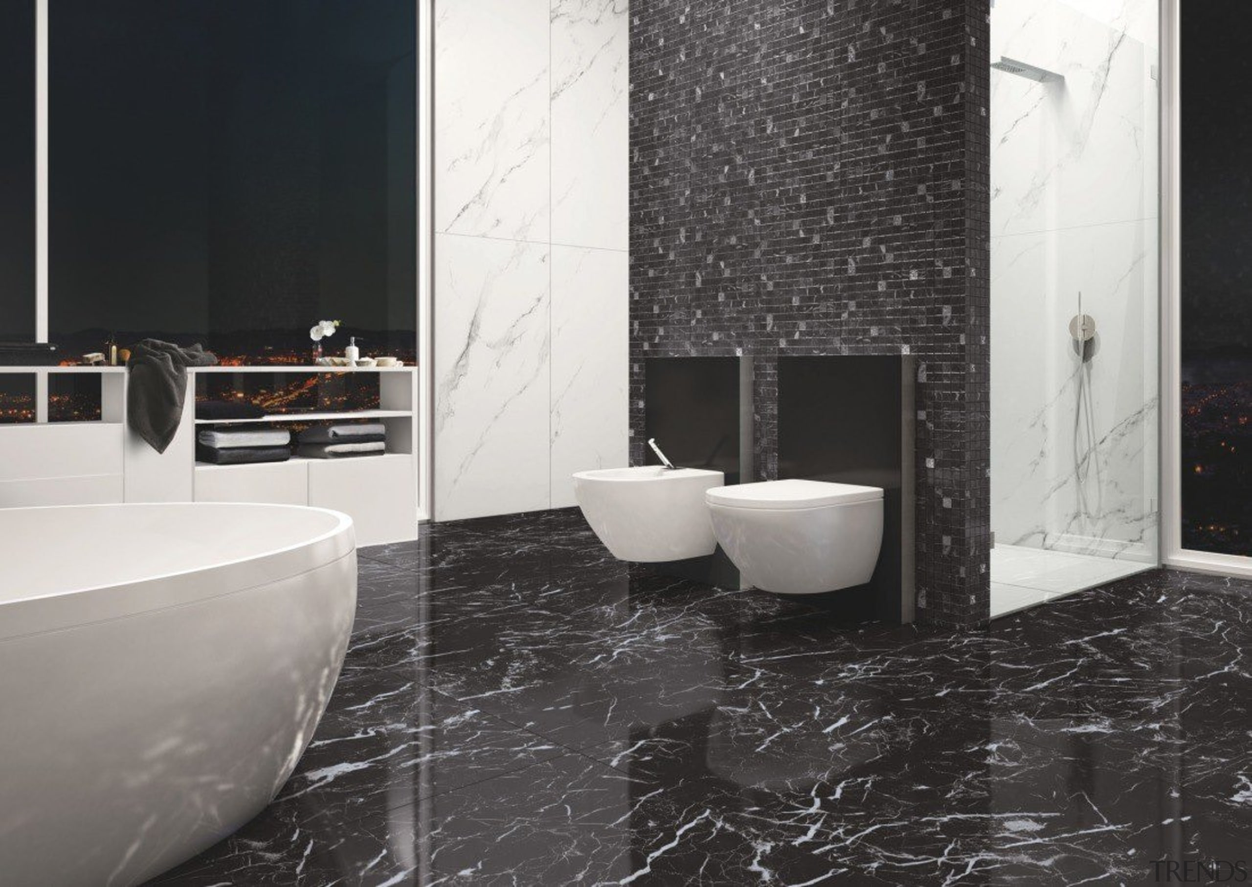Marmoker Statuario - Marmoker Statuario - bathroom | bathroom, ceramic, floor, flooring, interior design, plumbing fixture, product design, room, tile, wall, black, white