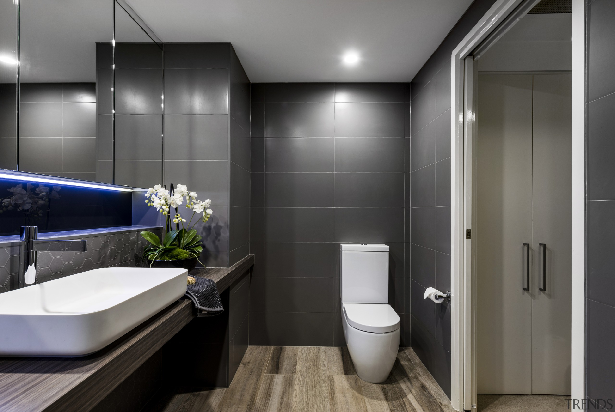 Contrasting a grey-black palette, a veneer vanity top bathroom, interior design, plumbing fixture, product design, public toilet, room, toilet, gray, black