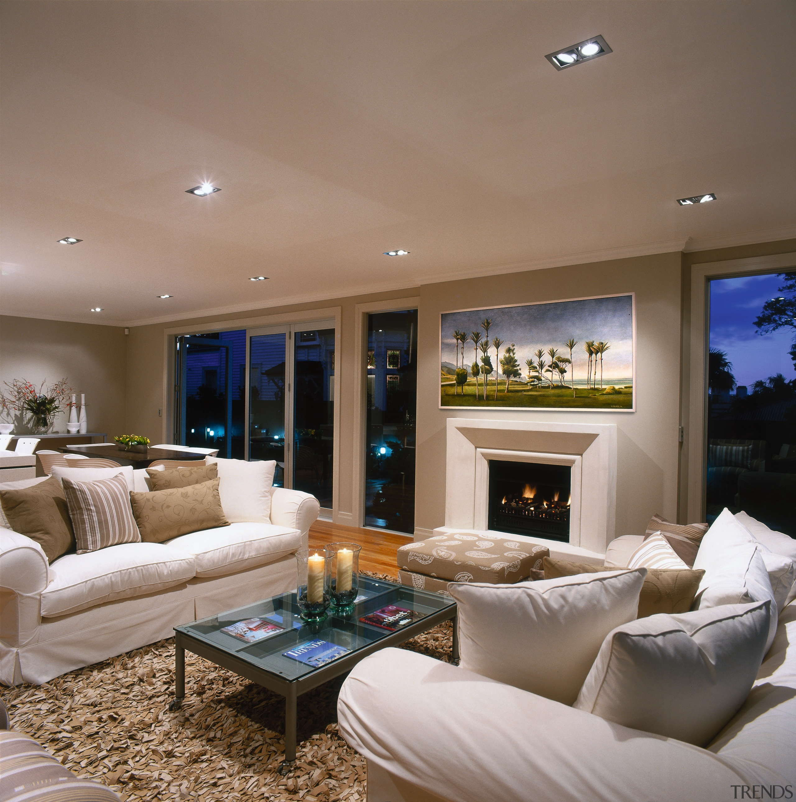 view of this living area - view of ceiling, estate, home, interior design, living room, real estate, room, wall, window, brown, gray