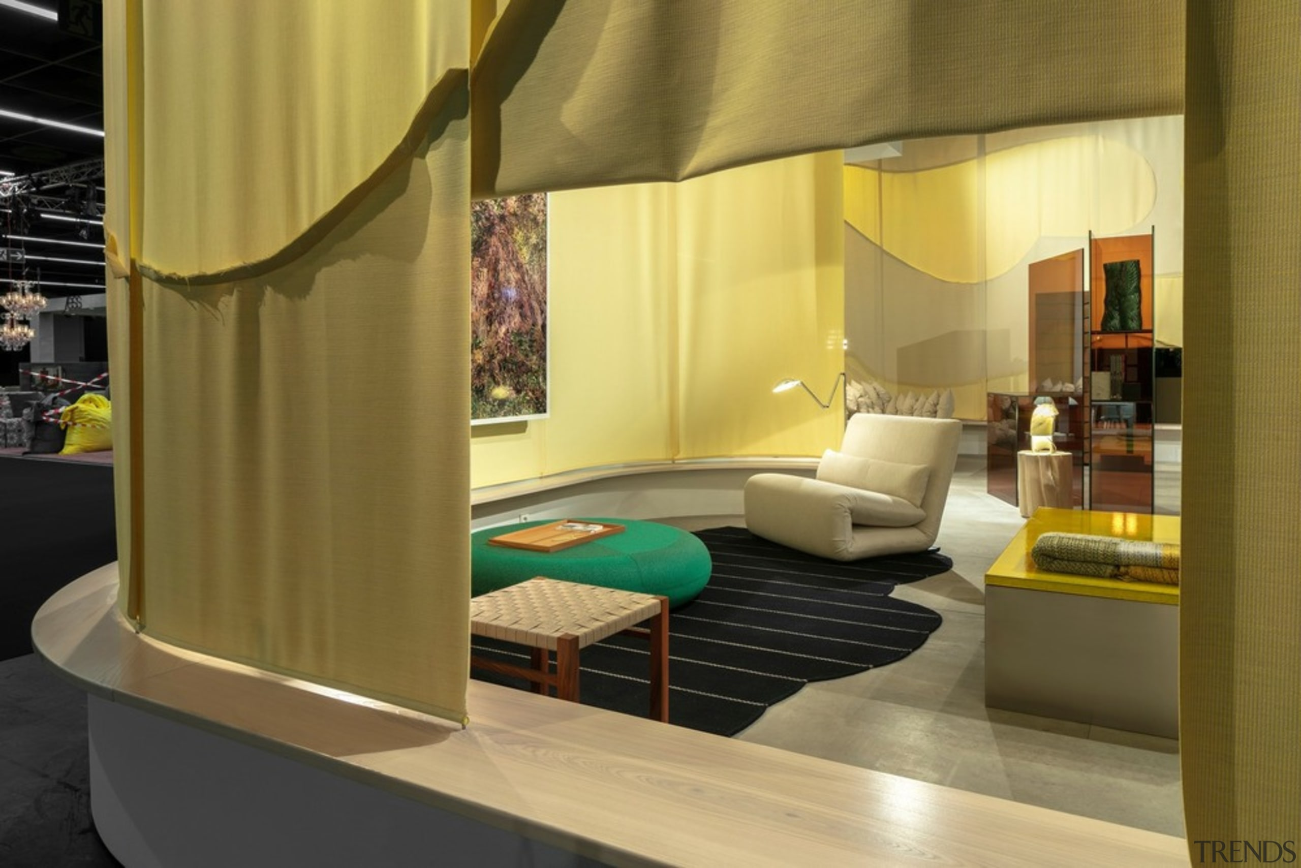 """A view through a curtain """"window"""" into the architecture, bed, building, ceiling, couch, design, floor, furniture, house, interior design, living room, property, room, suite, table, yellow, brown"""