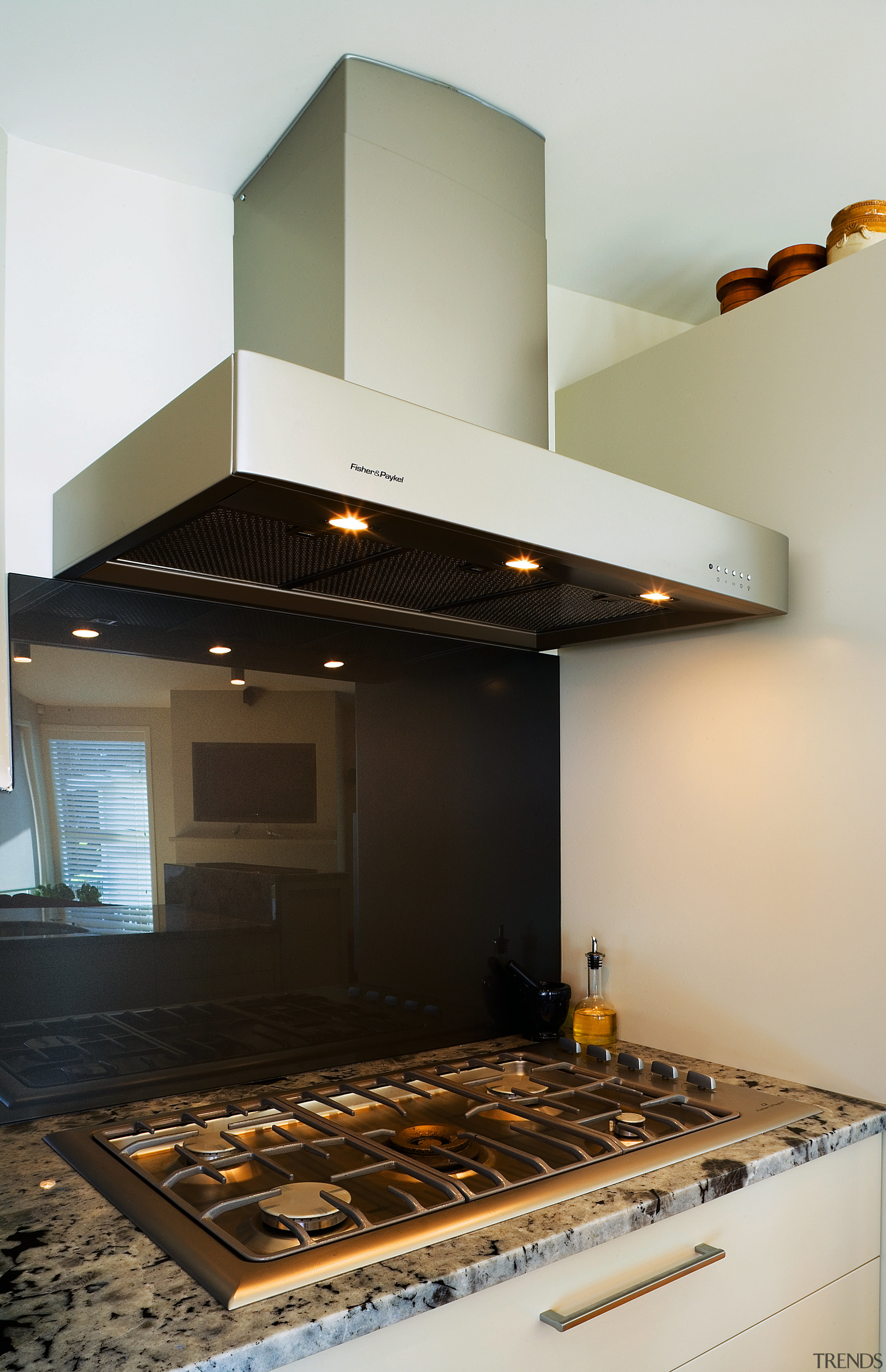 A view of a home using Fisher & ceiling, countertop, interior design, kitchen, black