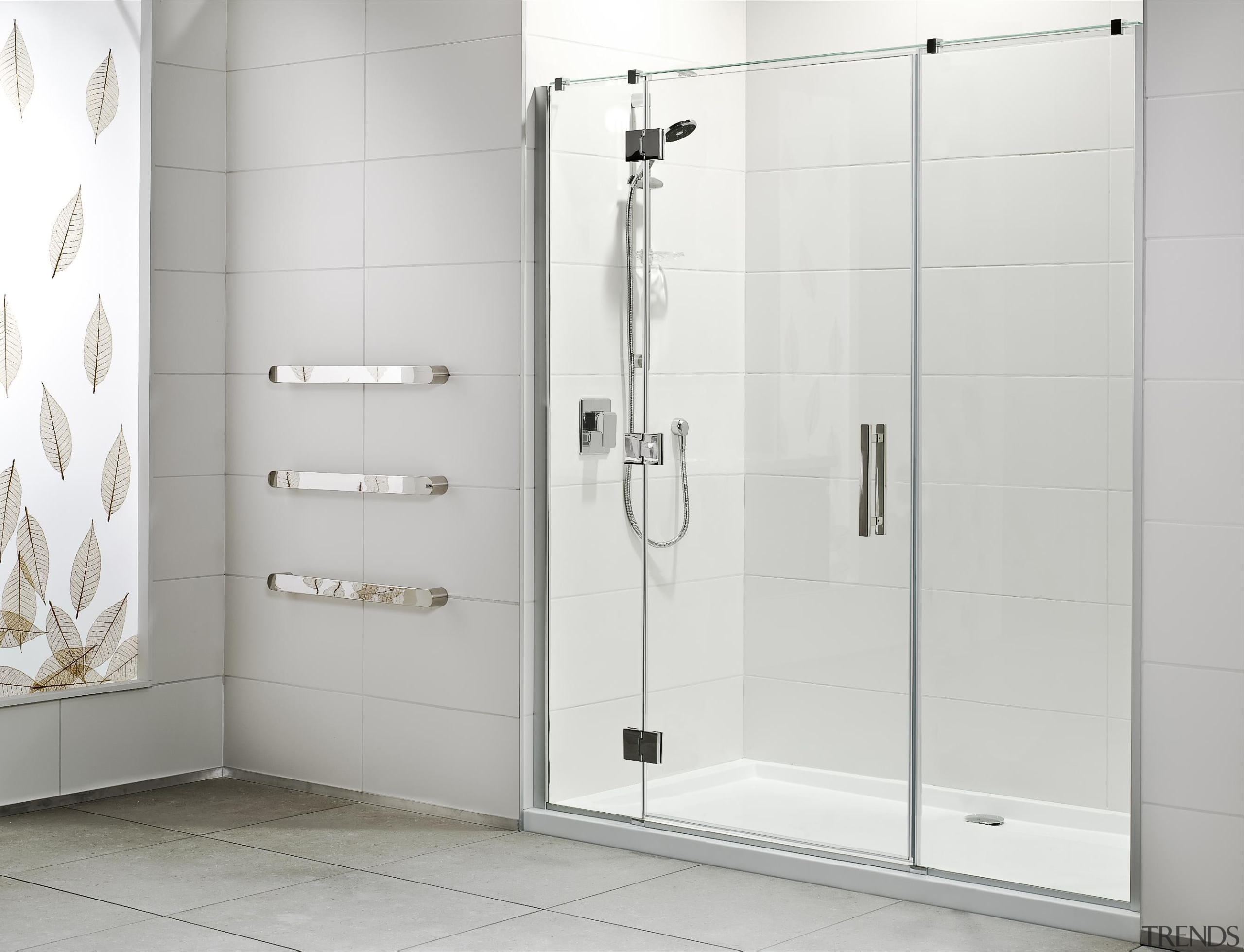 Designed specifically for modern New Zealand bathrooms, the angle, bathroom, plumbing fixture, product, shower, shower door, tap, white, gray