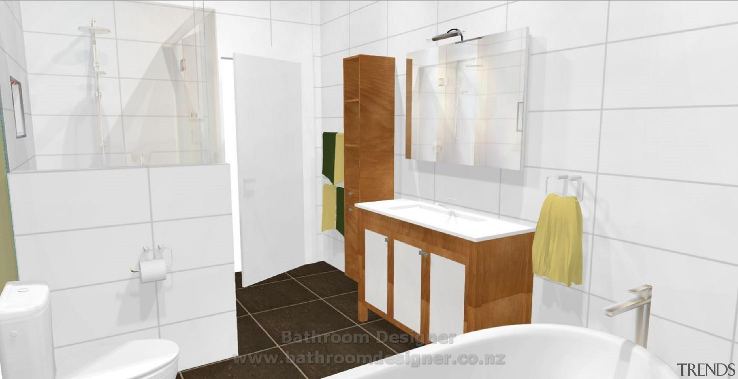 Bathroom Designer. This 3D image of proposed bathroom bathroom, bathroom accessory, bathroom cabinet, floor, home, interior design, property, room, tile, white