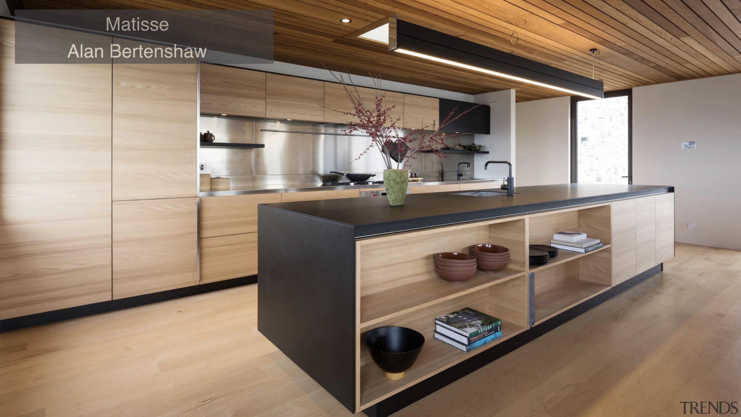 Winner – Matisse, Alan Bertshaw – TIDA New cabinetry, countertop, floor, flooring, hardwood, interior design, kitchen, wood, wood flooring, brown, gray
