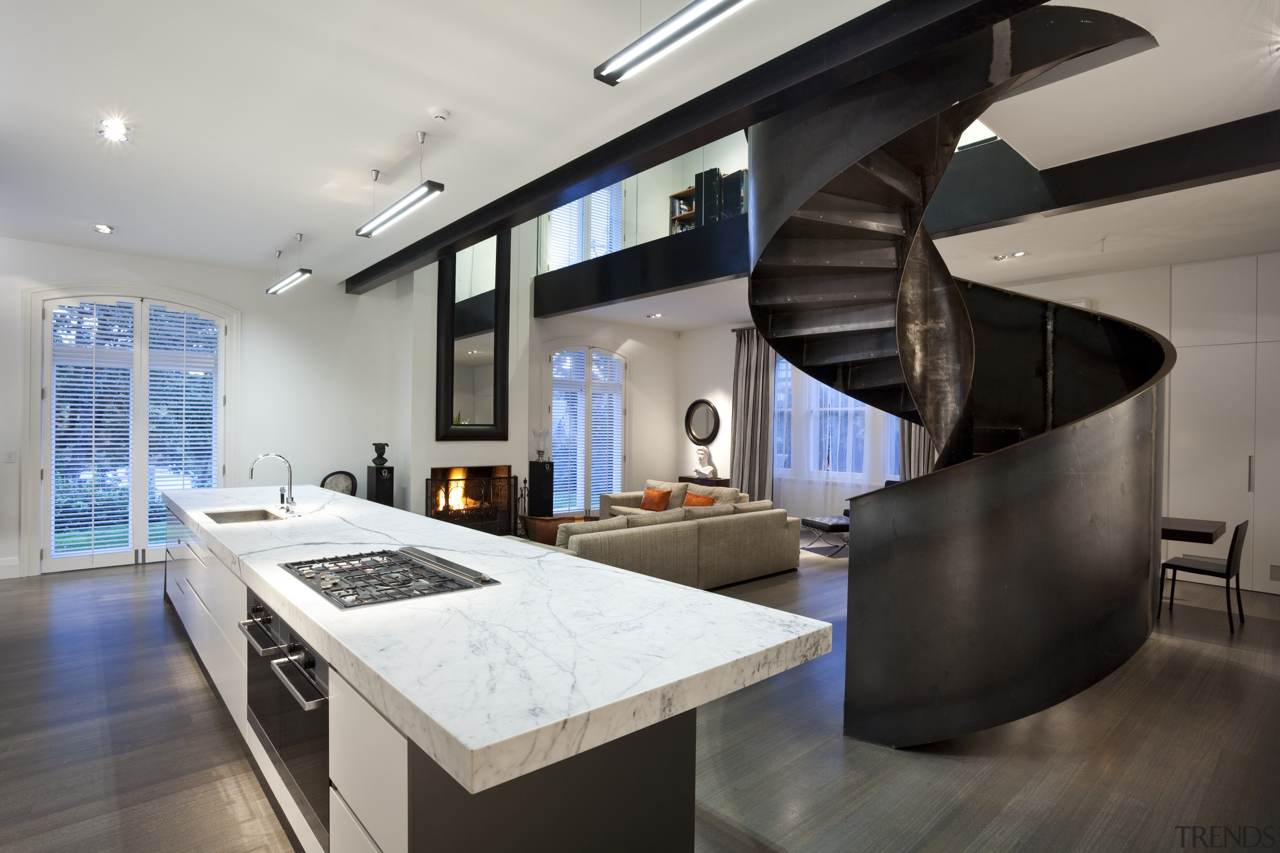 View of renovated home which features kitchen with countertop, interior design, kitchen, gray, black