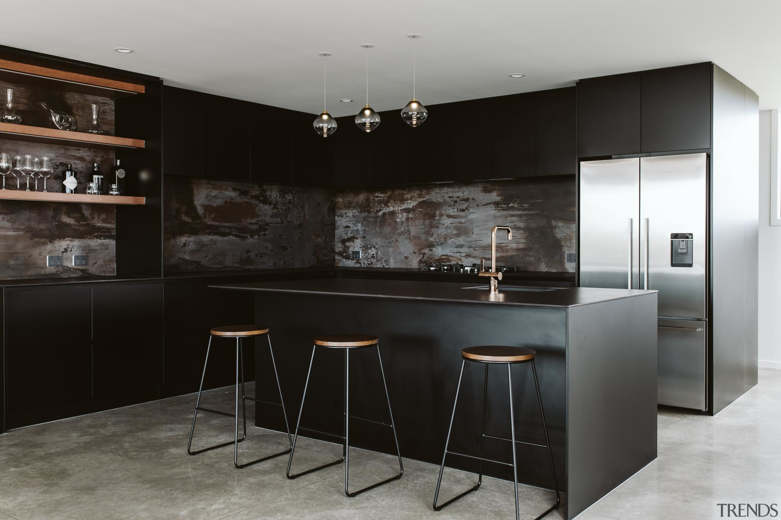 Highly Commended – Annika Rowson – Rowson Kitchens bar stool, black, building, cabinetry, ceiling, countertop, cupboard, design, dining room, floor, flooring, furniture, home, house, interior design, kitchen, kitchen stove, material property, property, room, table, black, gray
