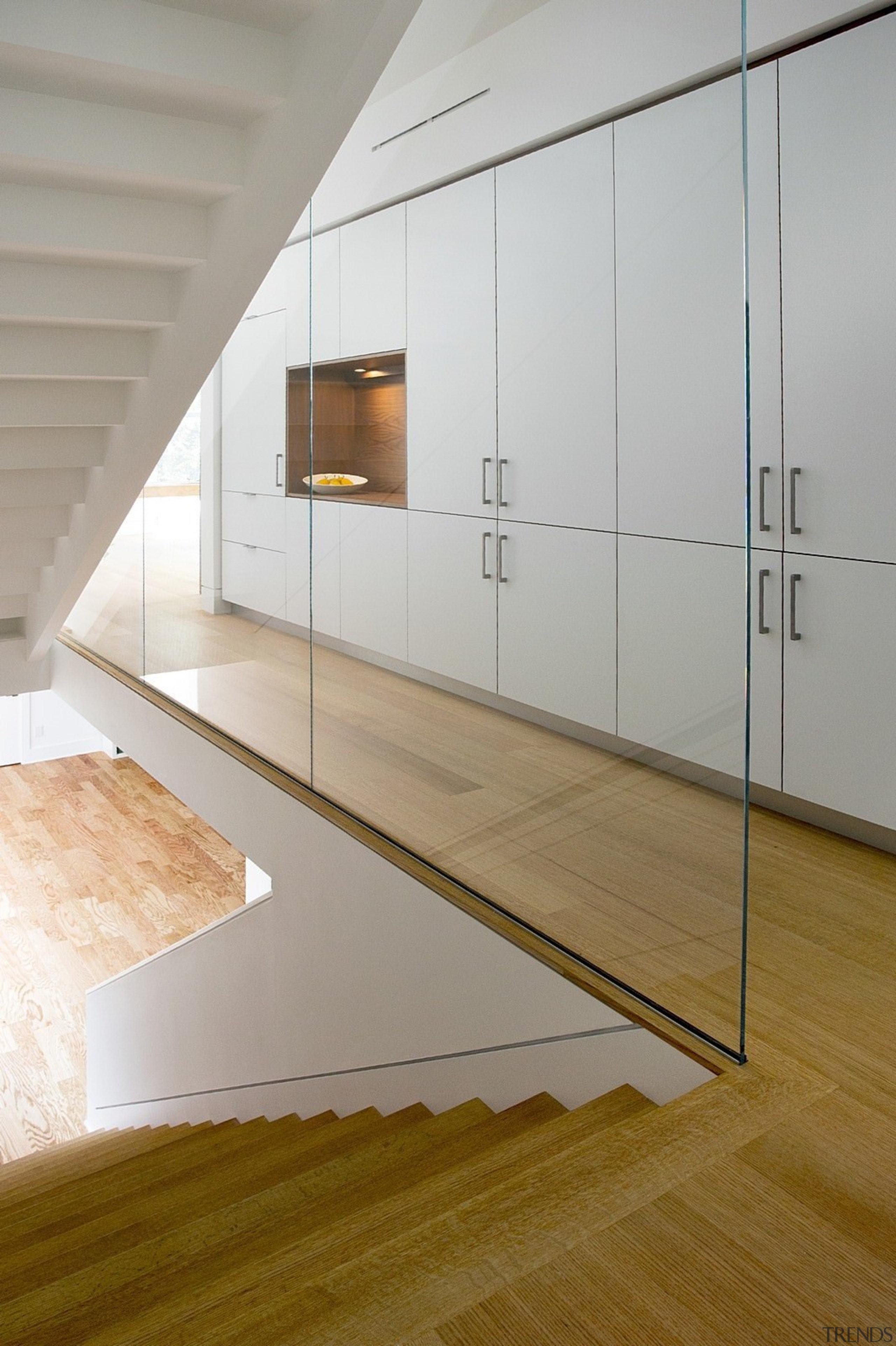 Architect: ZeroEnergy DesignPhotography by Eric Roth architecture, daylighting, floor, flooring, glass, hardwood, interior design, laminate flooring, product design, wood, wood flooring, gray, brown