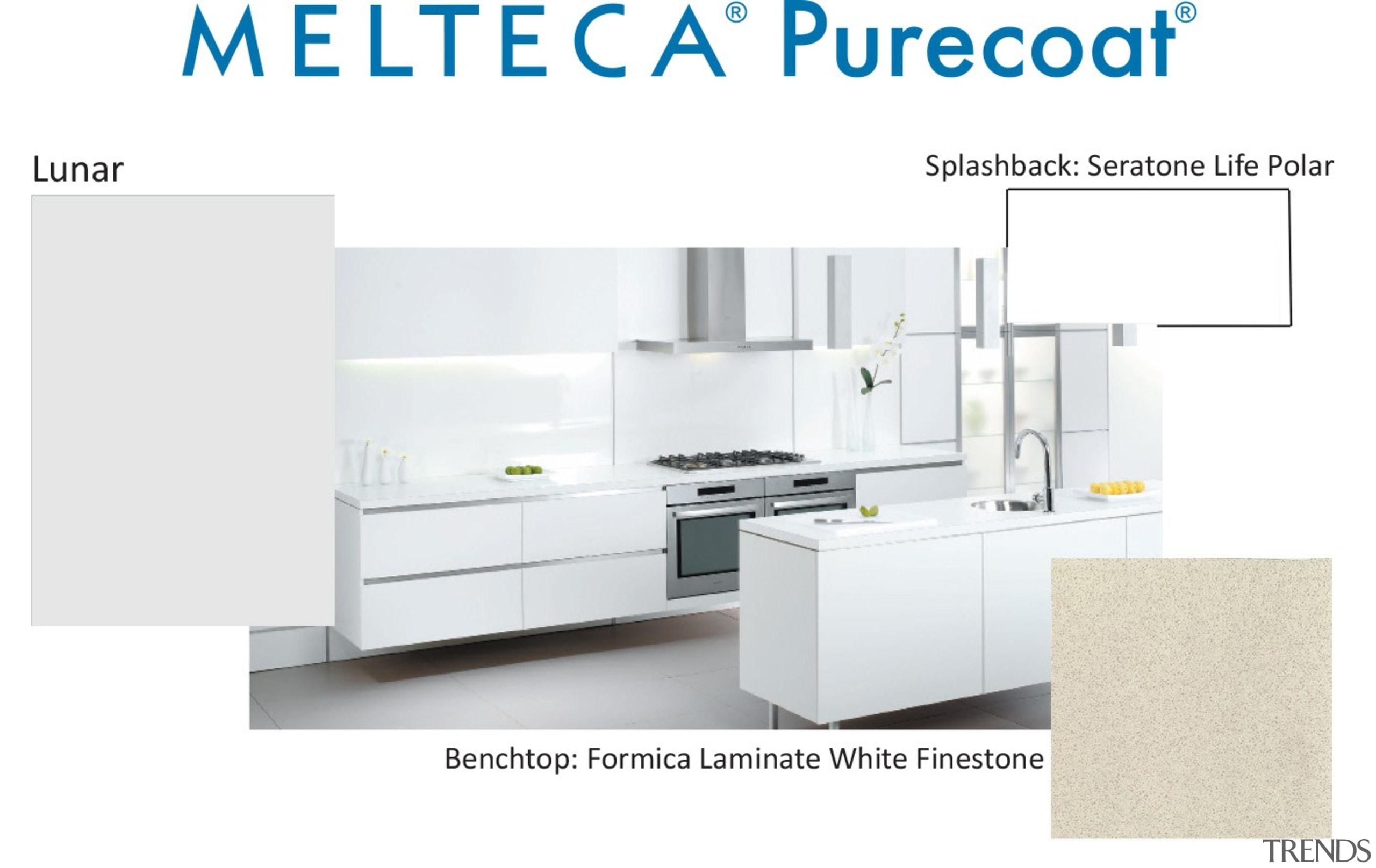 New Zealand made Melteca Purecoat surfaces utilise cutting-edge furniture, kitchen, product, product design, table, white