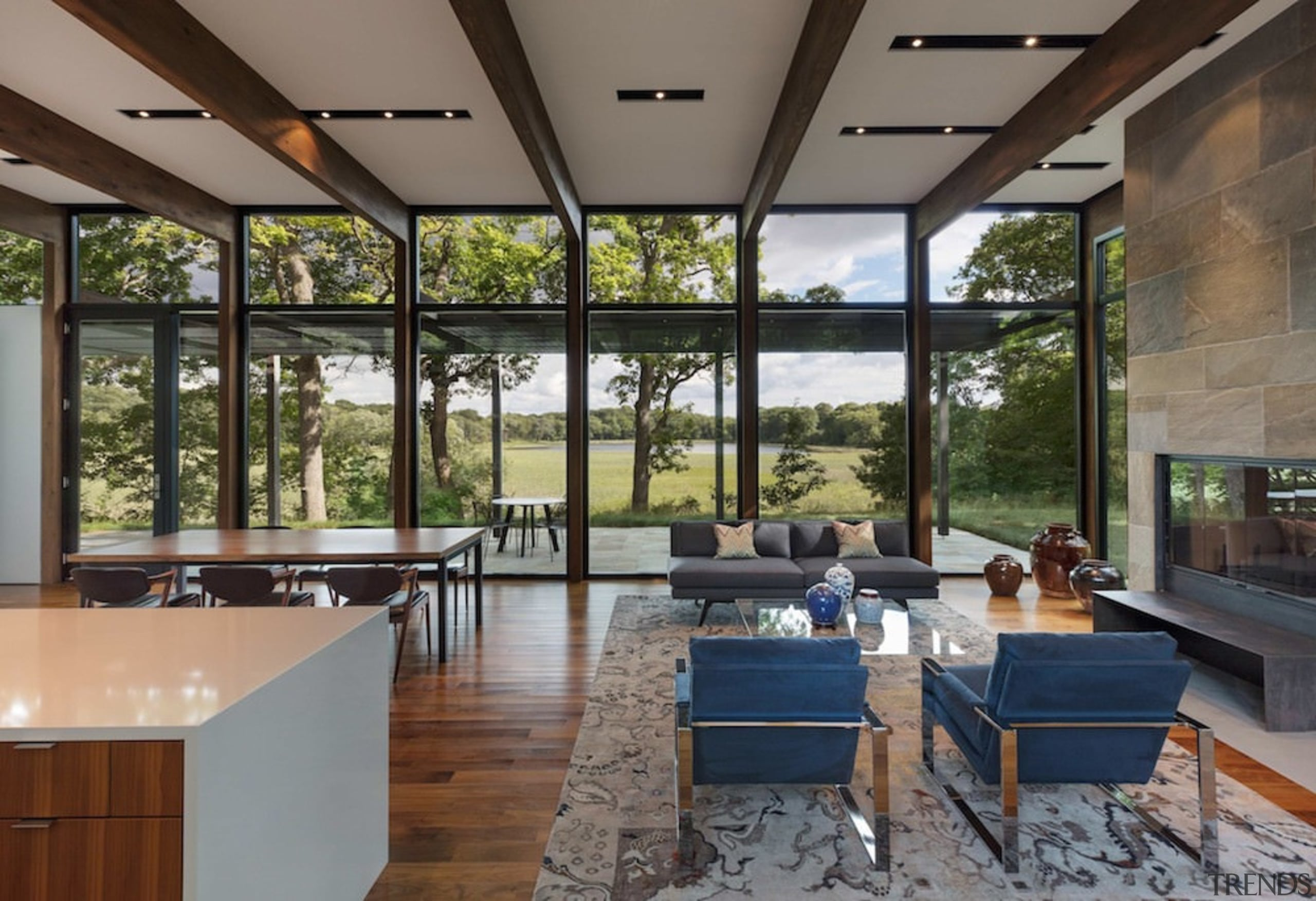 The view from this living area could be architecture, daylighting, house, interior design, real estate, window, gray, brown