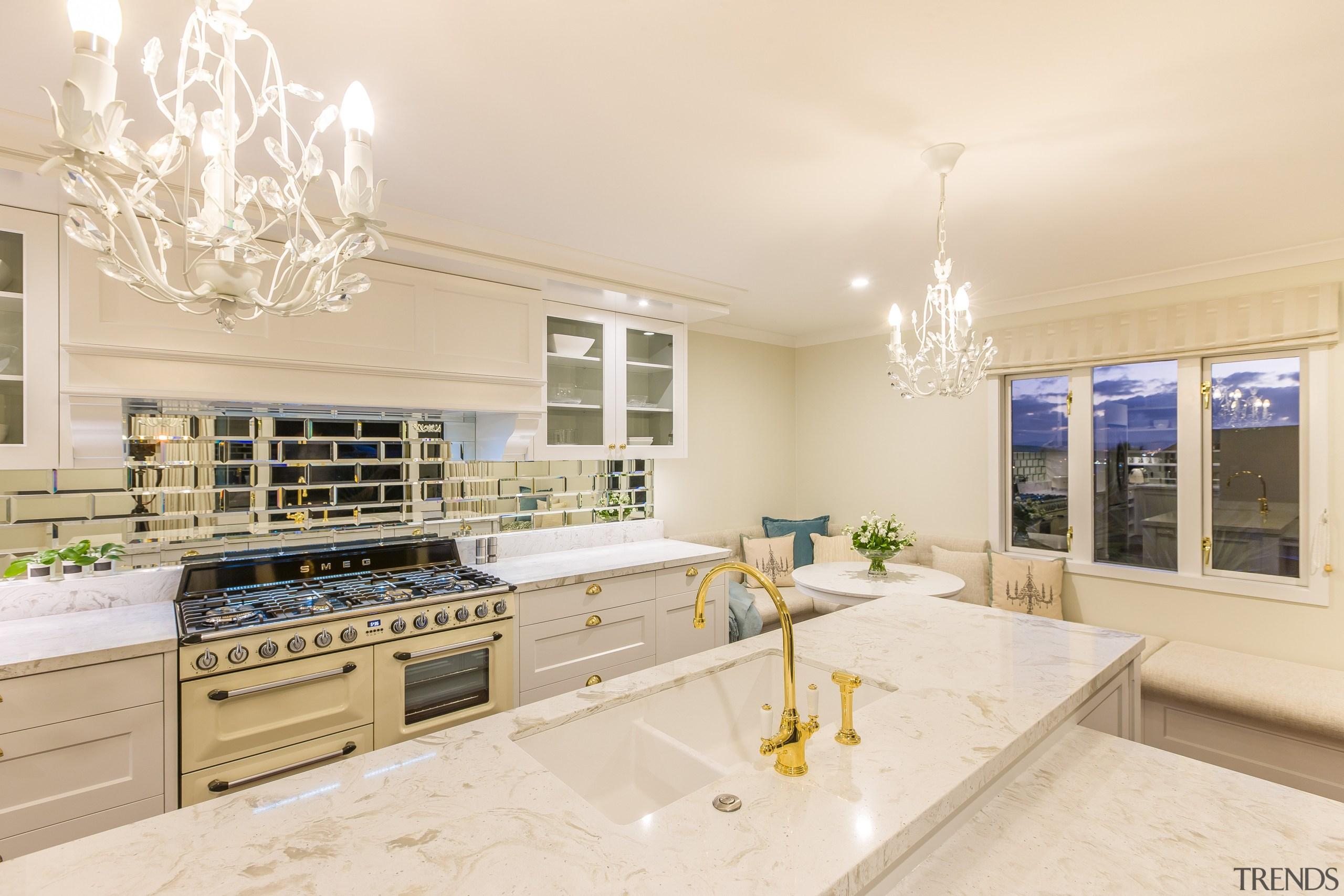 Sleek features and a Smeg Victoria cooker set countertop, cuisine classique, estate, home, interior design, kitchen, real estate, room, orange