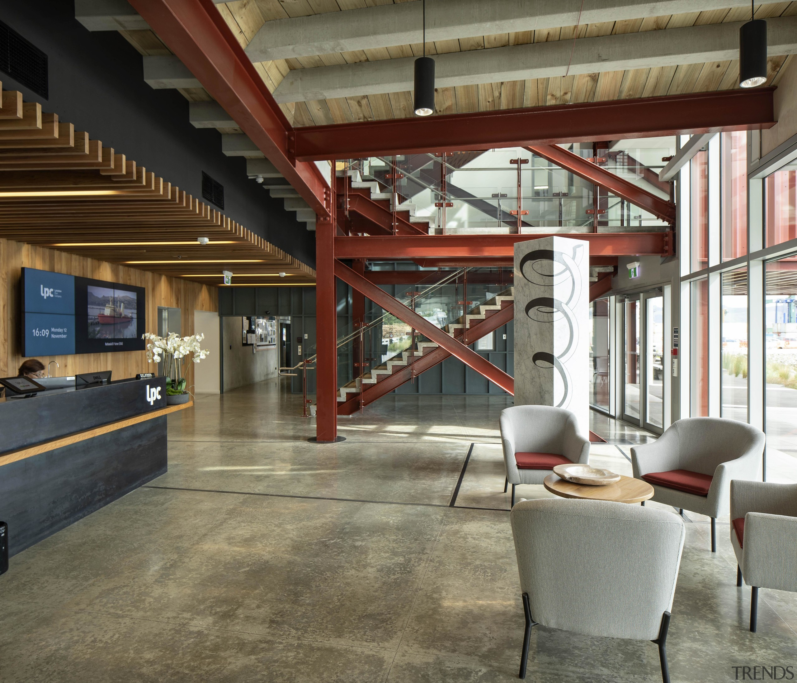 Waterfront House at Lyttelton Port won the 2019 architecture, beam, building, ceiling, design, floor, flooring, furniture, home, house, interior design, lobby, loft, property, real estate, room, brown, gray