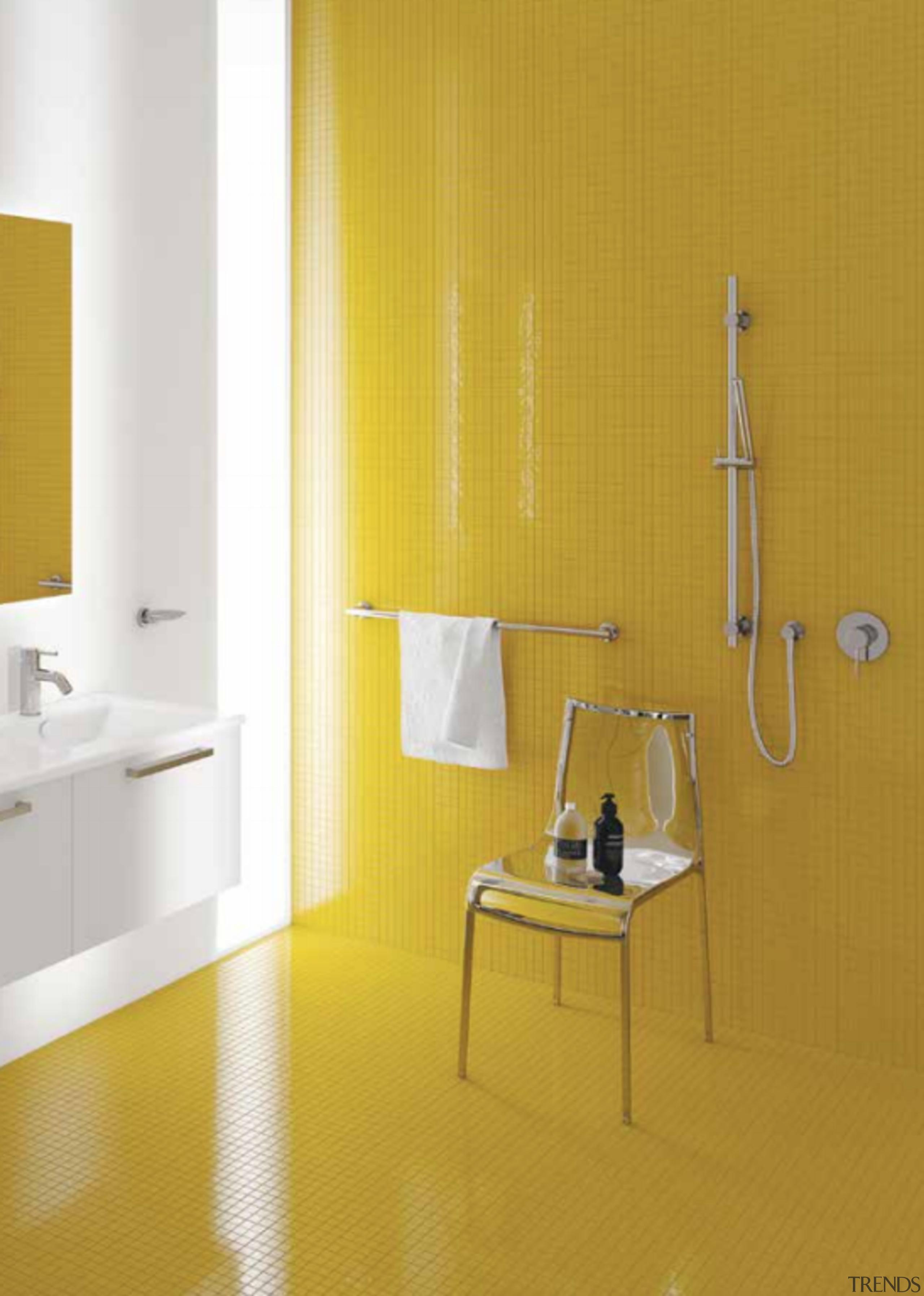 Showered in great ideas - bathroom | floor bathroom, floor, flooring, furniture, interior design, material property, orange, plumbing fixture, room, tile, wall, yellow, orange, white
