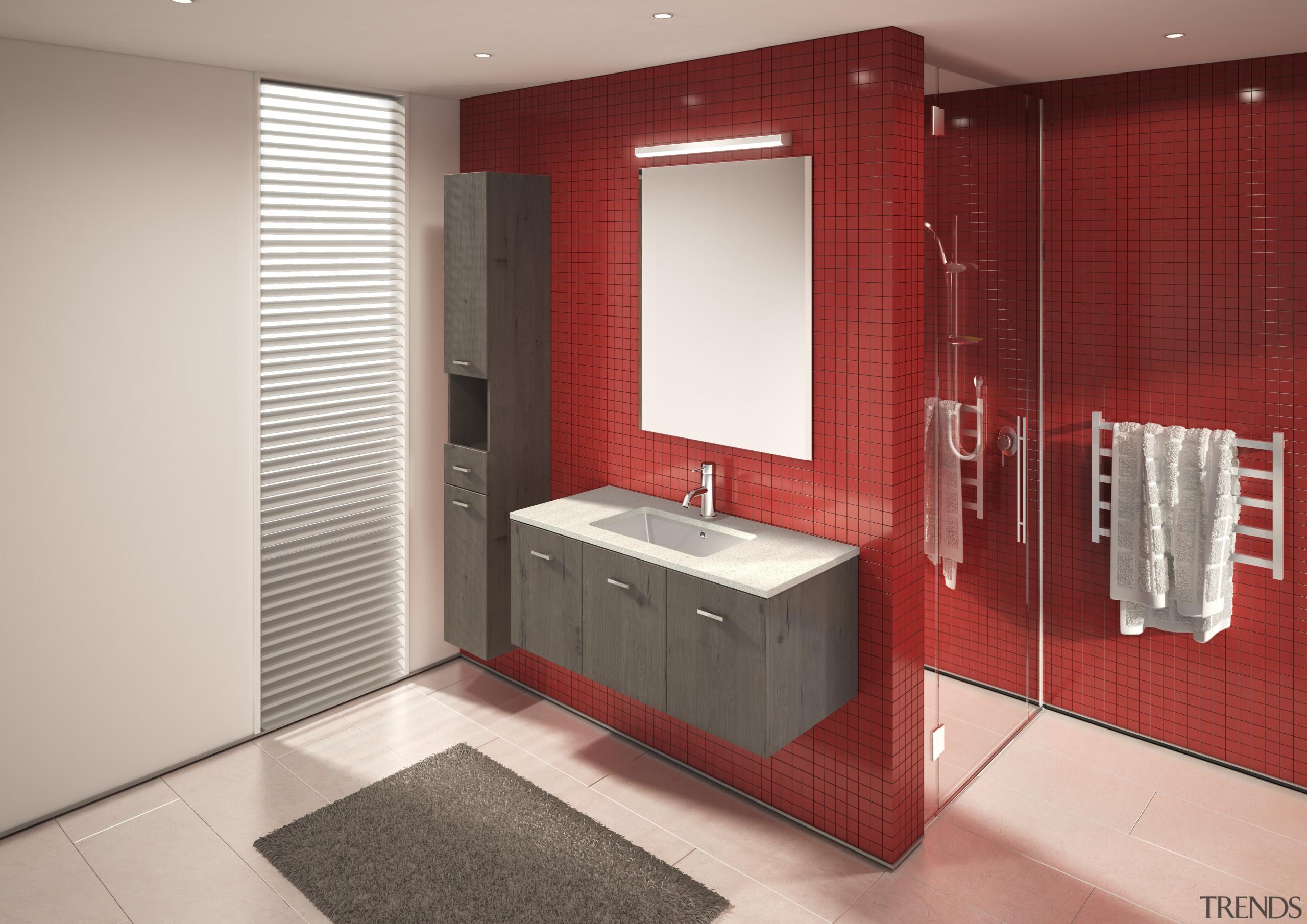 Key bathroom ideas like this one can be bathroom, bathroom accessory, bathroom cabinet, interior design, product design, room, gray, red