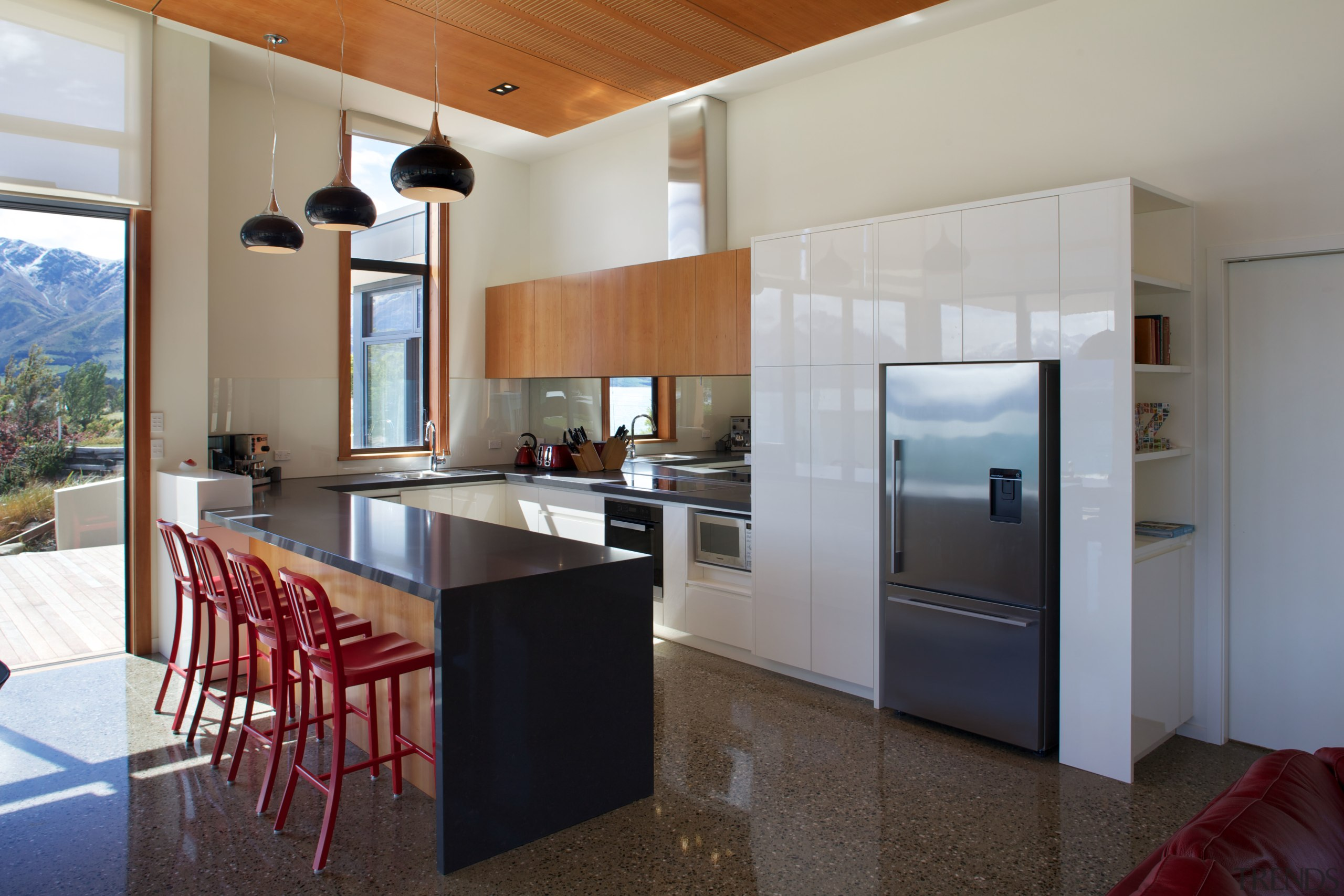Southland beech timber, composite stone benchtops and a architecture, countertop, house, interior design, kitchen, real estate, gray