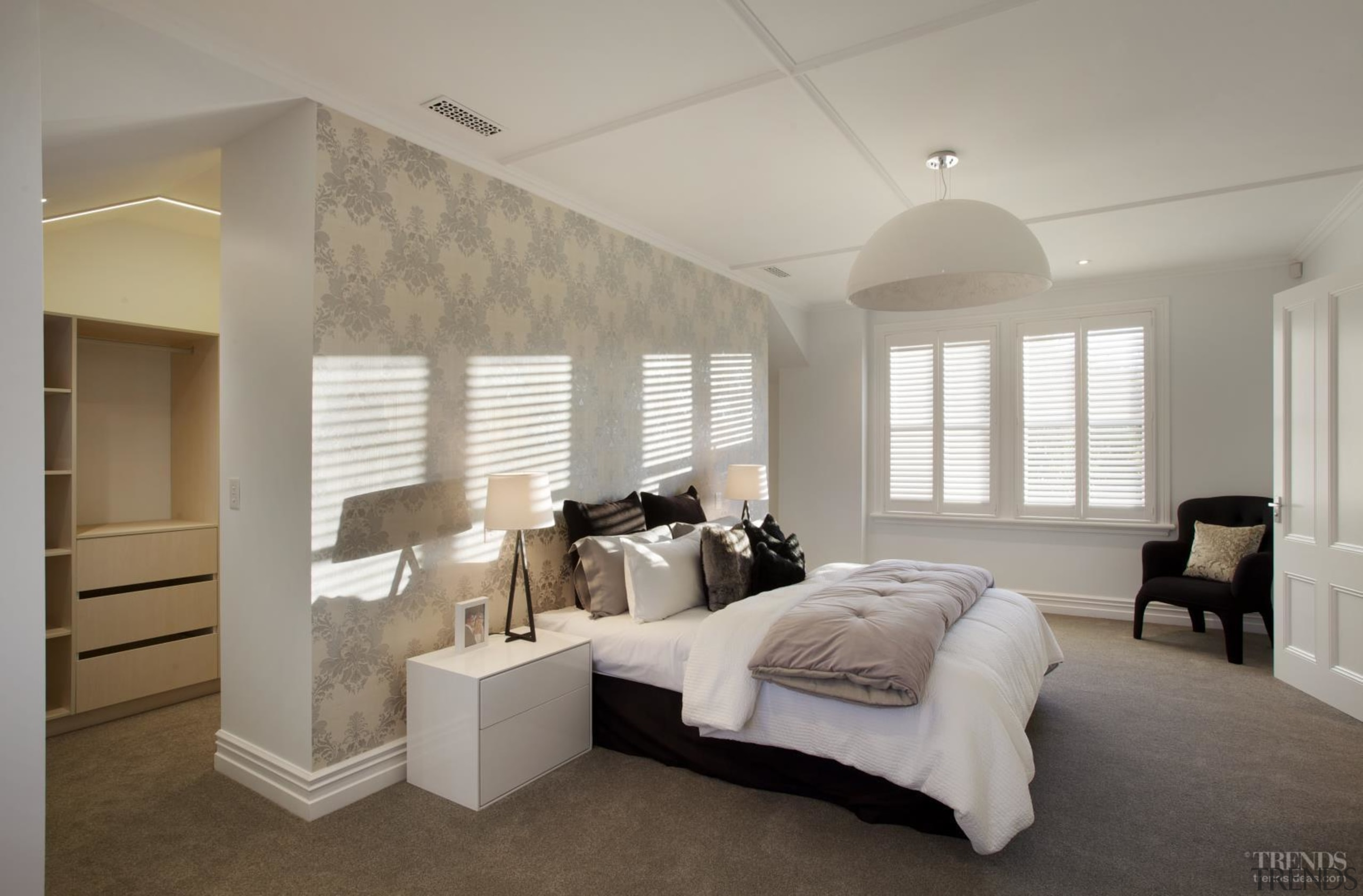 Panelled ceilings feature in this master bedroom. The bed frame, bedroom, ceiling, estate, floor, home, interior design, property, real estate, room, wall, window, gray