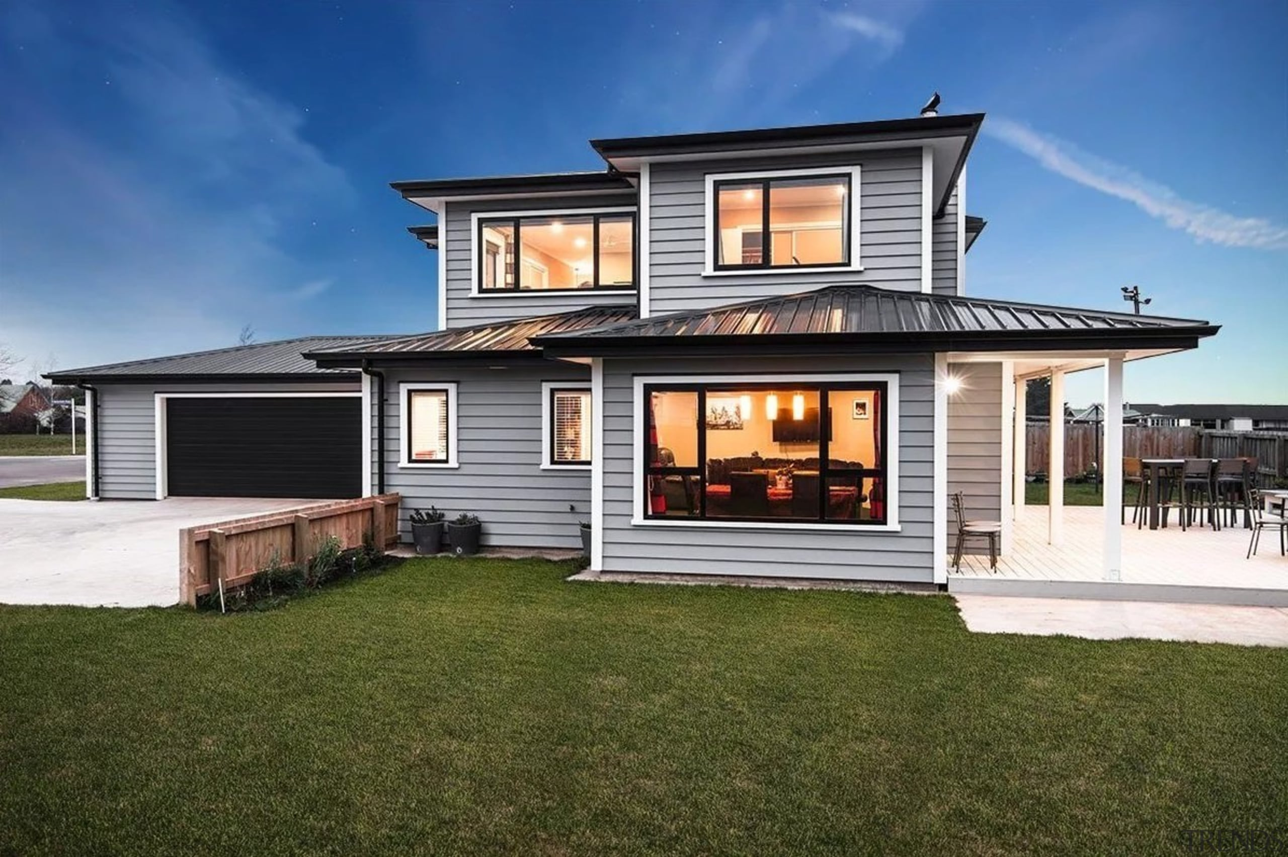 Envira bevel back weatherboards - Envira bevel back cottage, elevation, estate, facade, home, house, luxury vehicle, property, real estate, residential area, siding, window, brown, blue