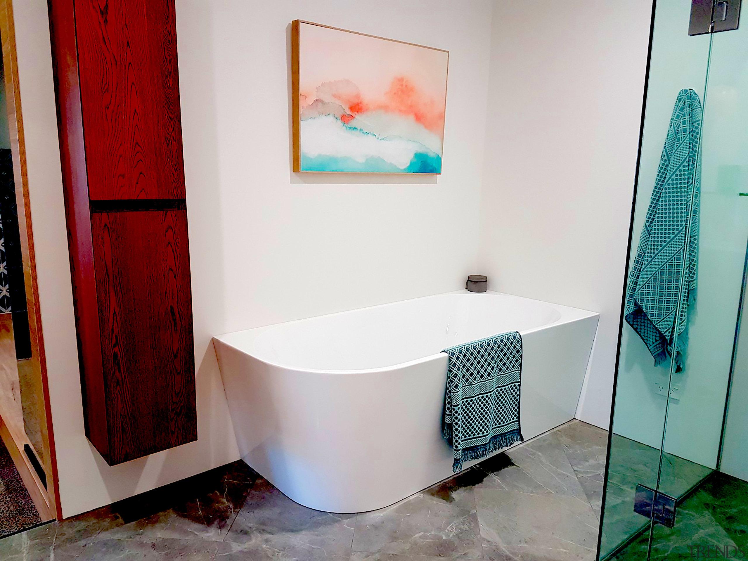 Foto from Newtech Bathroomaware - Corner bath tub bathroom, floor, flooring, interior design, plumbing fixture, property, room, tile, white