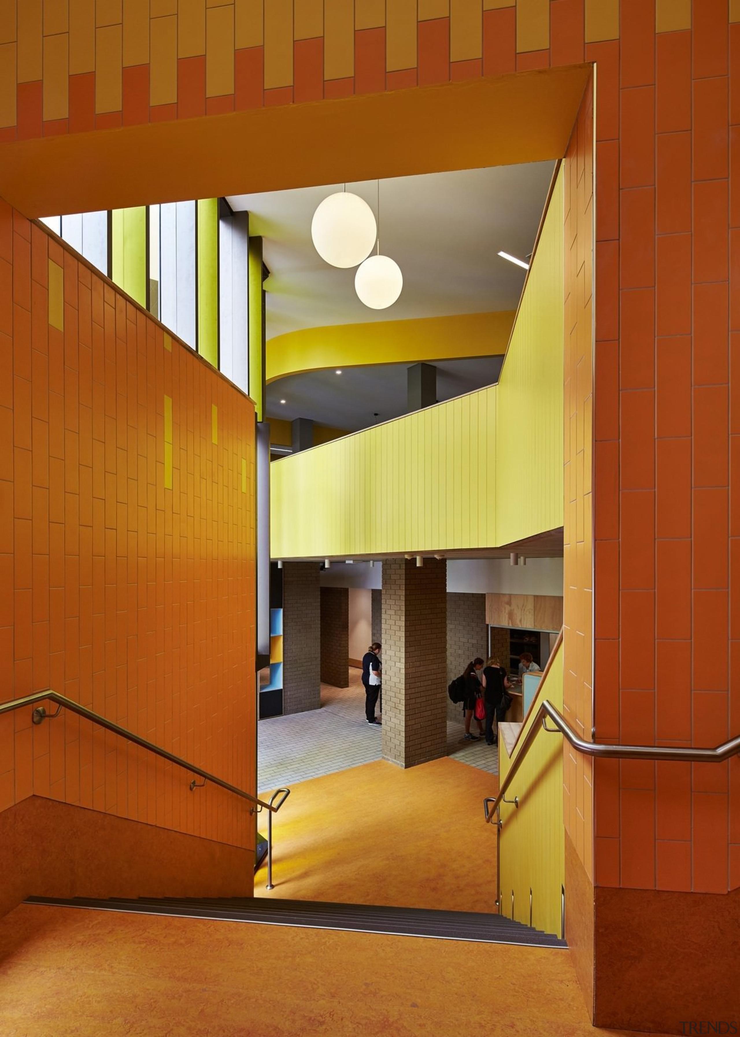 Bunbury Catholic College – Mercy Campus - Bunbury apartment, architecture, ceiling, daylighting, home, house, interior design, lighting, lobby, orange, wall, yellow, brown
