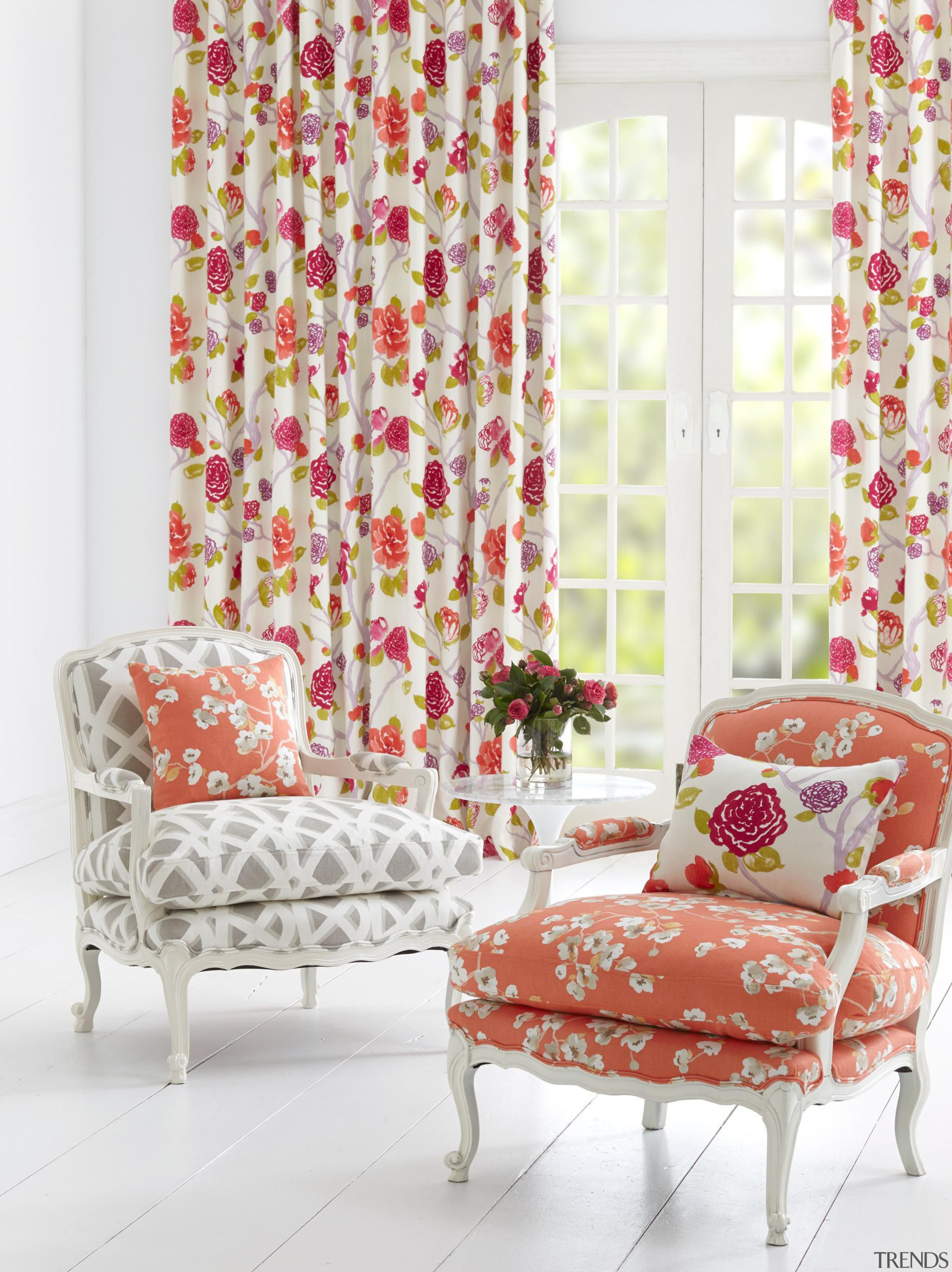 Oriental Trail - Oriental Trail Collection - chair chair, curtain, furniture, home, interior design, living room, pink, textile, window, window covering, window treatment, white