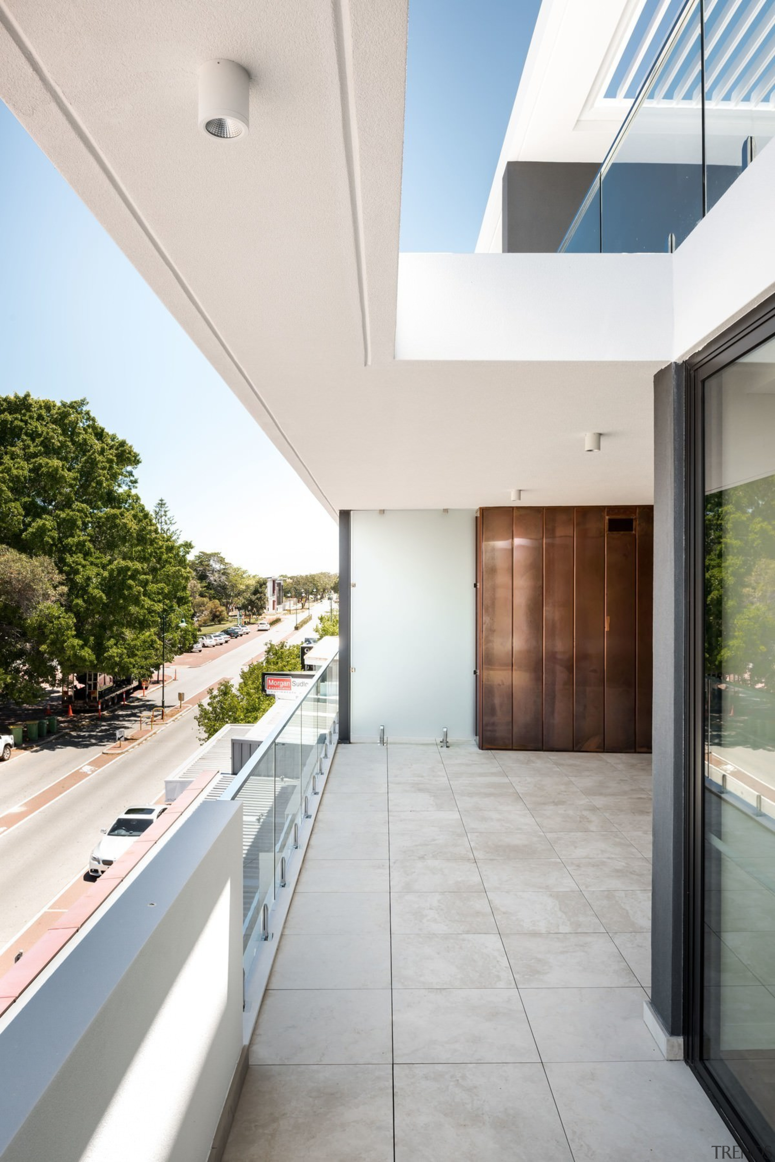 There's a view from the balustrade above to apartment, architecture, condominium, daylighting, estate, floor, home, house, interior design, property, real estate, window, white