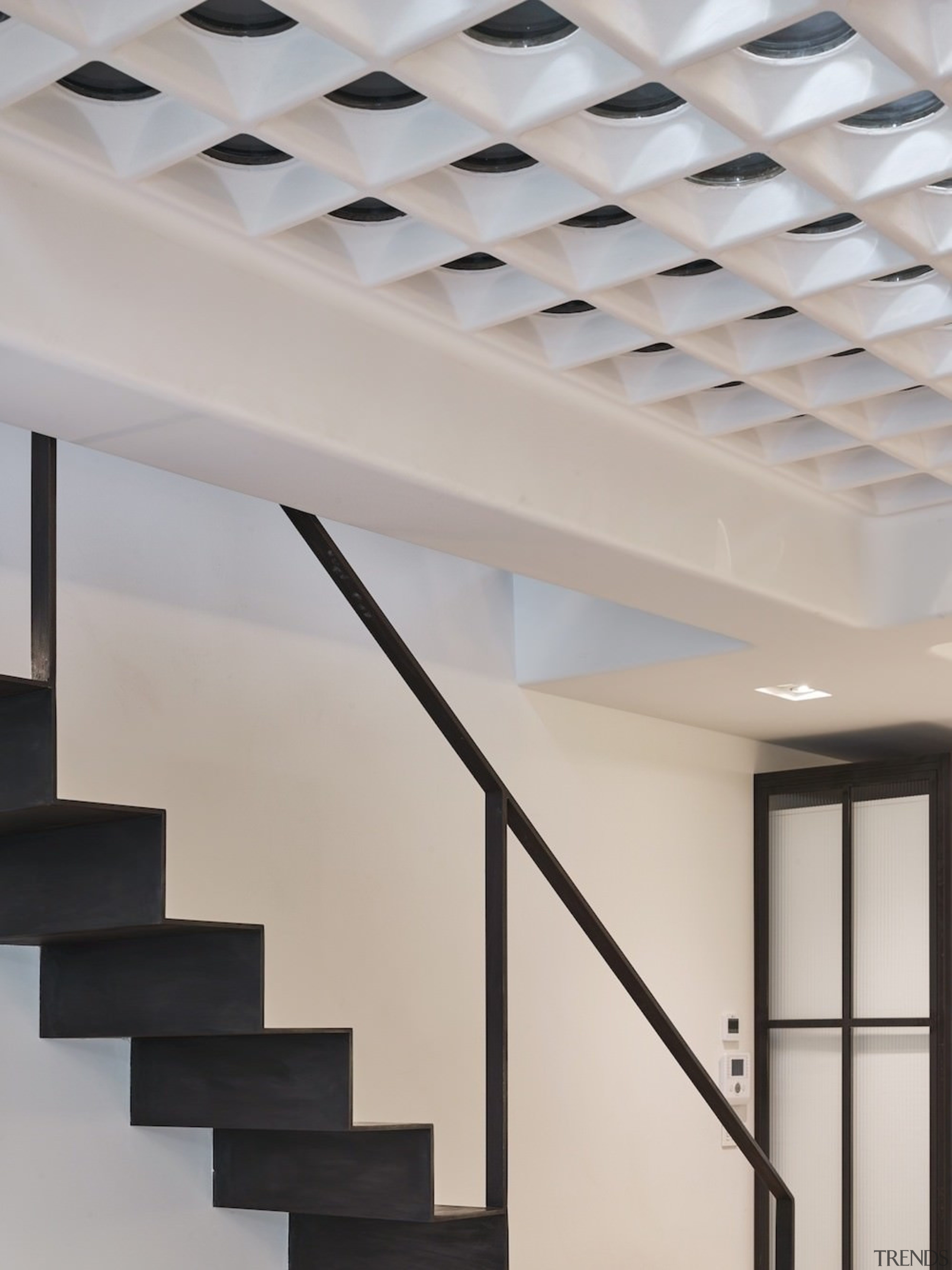 Andy Martin Architecture – Renovation in London - architecture, ceiling, daylighting, handrail, interior design, lighting, product design, structure, gray