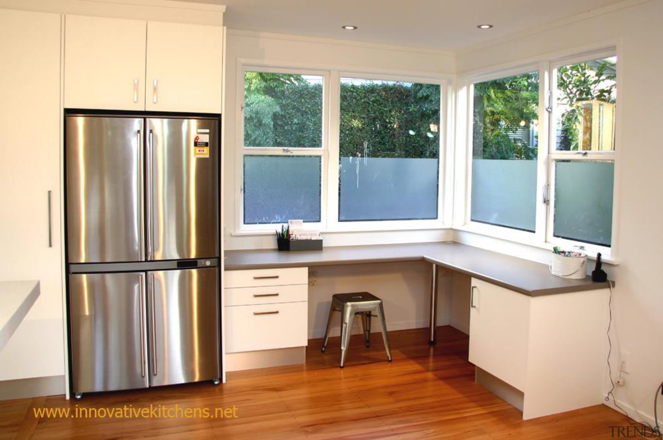 Office area, utility area, matching kitchen - modern_glendowie_2013_5.jpg cabinetry, floor, hardwood, home, interior design, kitchen, real estate, room, window, orange