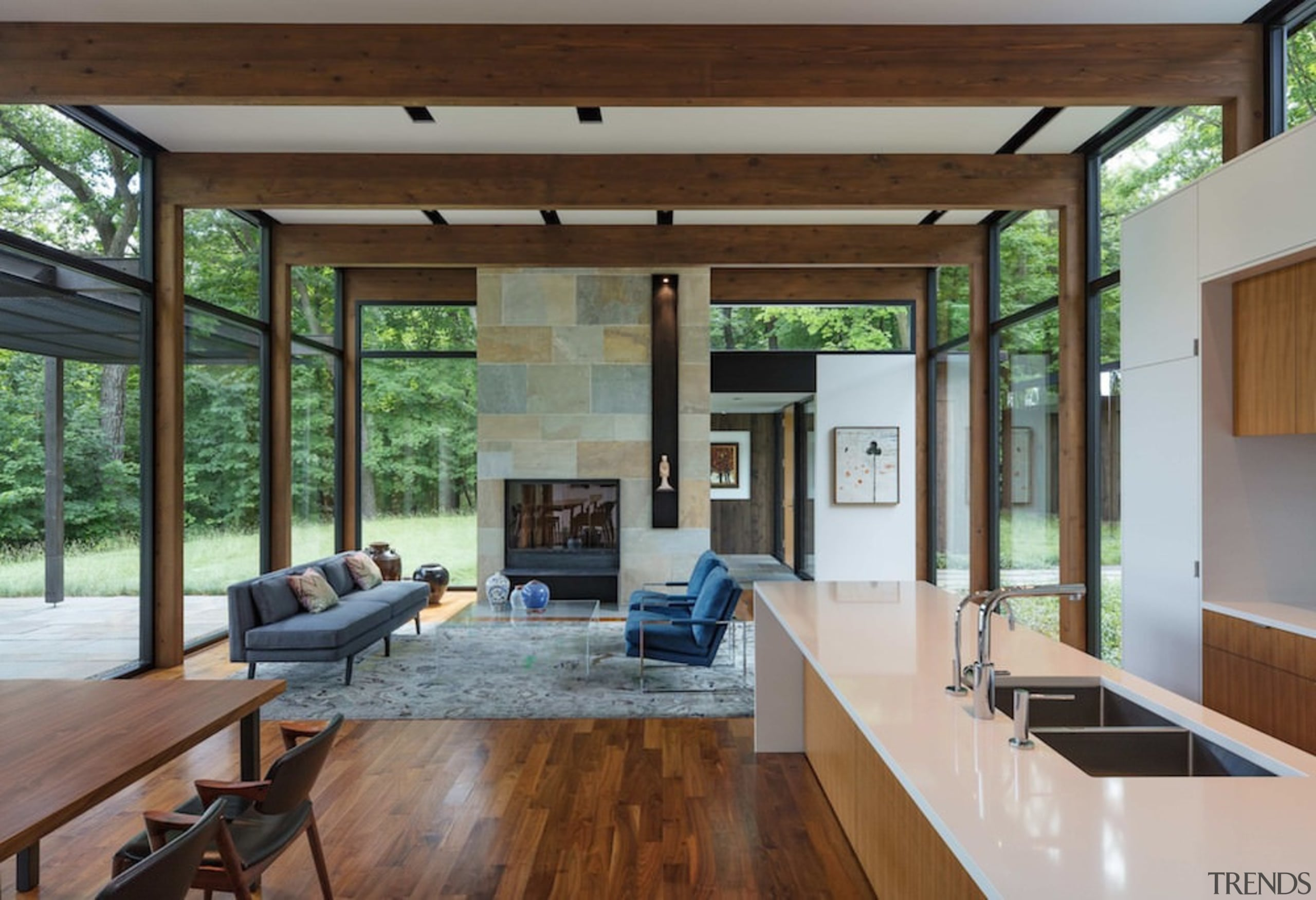 Clerestory windows ring this living area - Clerestory ceiling, house, interior design, living room, real estate, window, wood, gray, brown