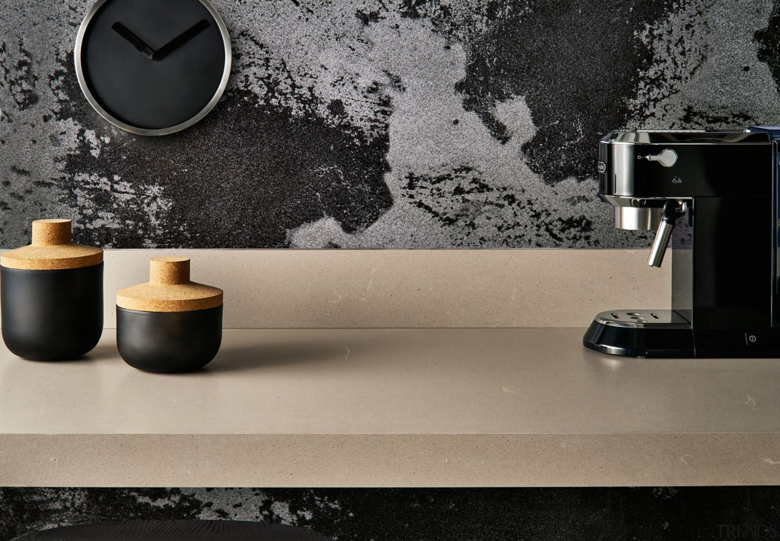 A natural soft grey with a distinctive texture floor, flooring, interior design, product design, still life photography, table, tap, gray, black