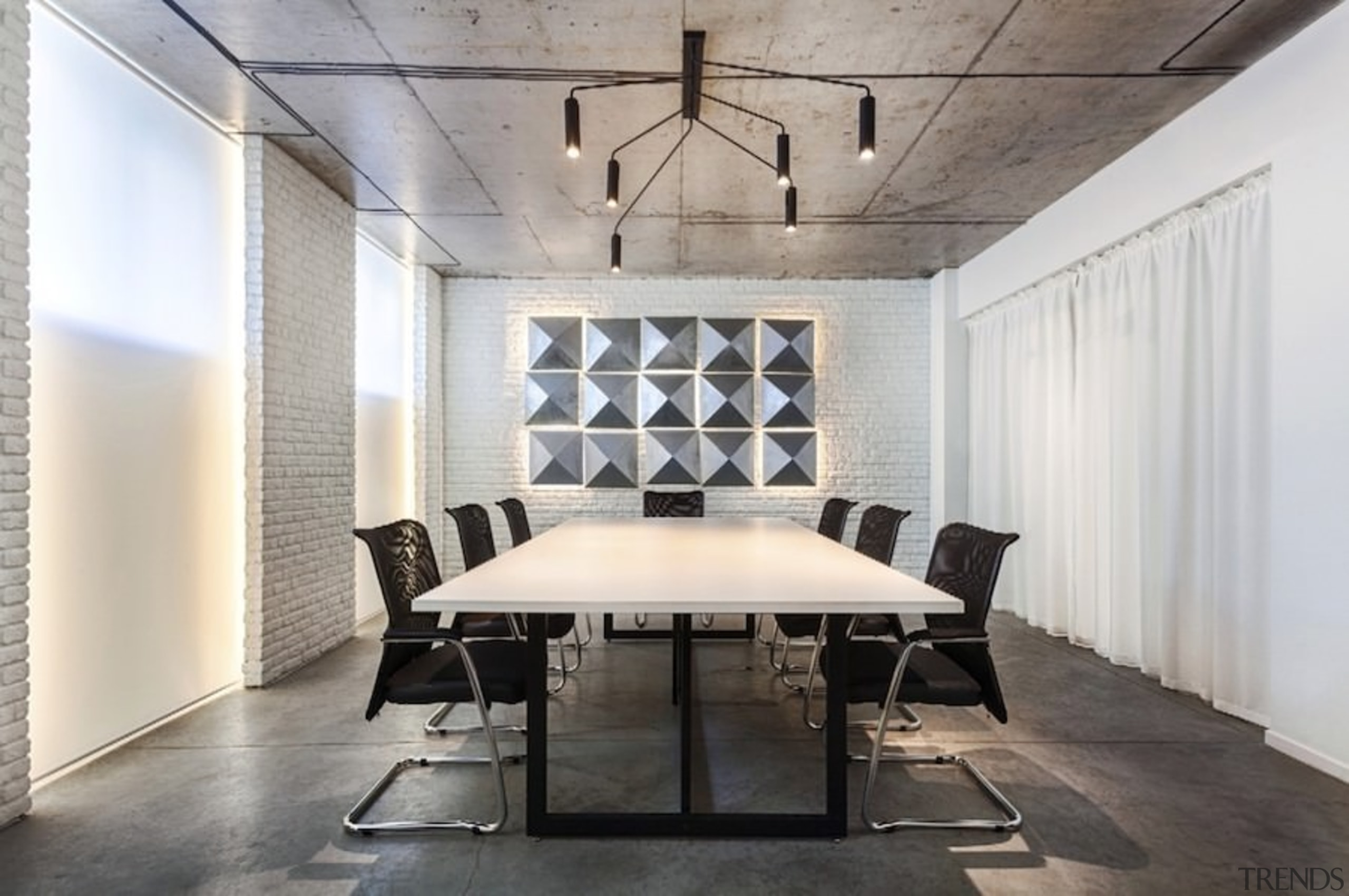 Architect: Martin Architects architecture, ceiling, daylighting, floor, flooring, furniture, interior design, product design, table, wall, gray