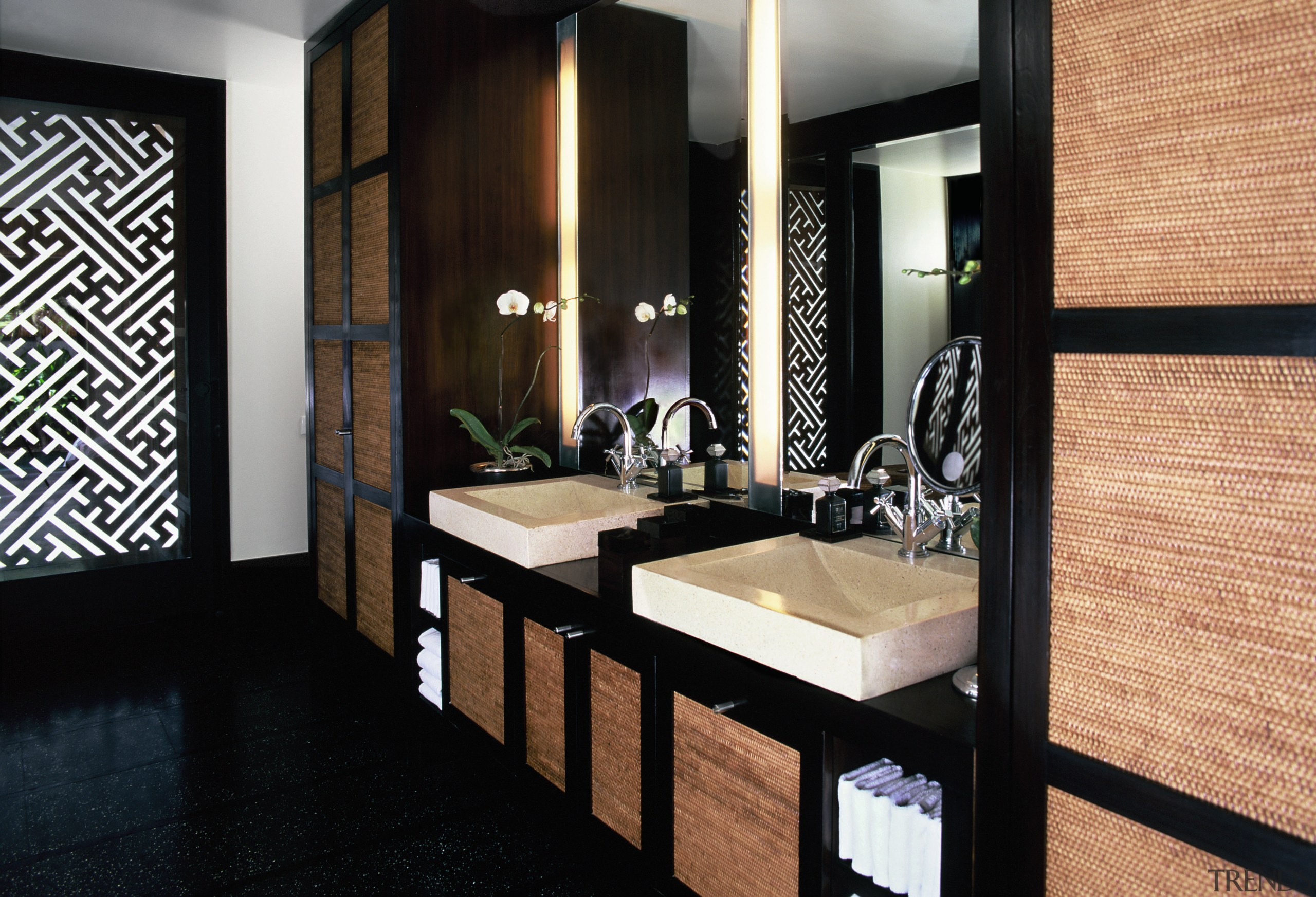view of the sleek white apaiser stone/terrazzo basins flooring, interior design, room, suite, black