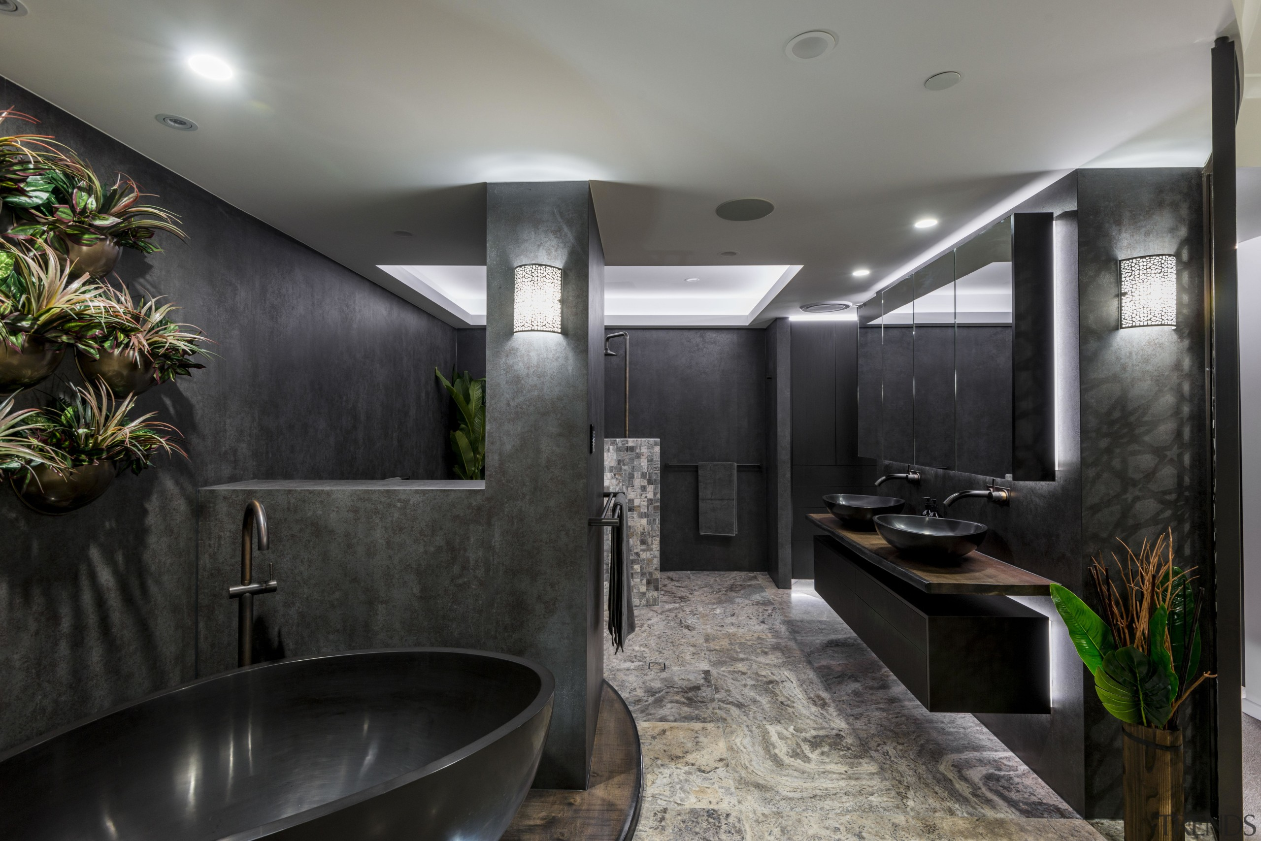 Read the full story architecture, bathroom, building, ceiling, countertop, floor, flooring, furniture, home, house, interior design, plumbing fixture, property, real estate, room, tile, black, gray
