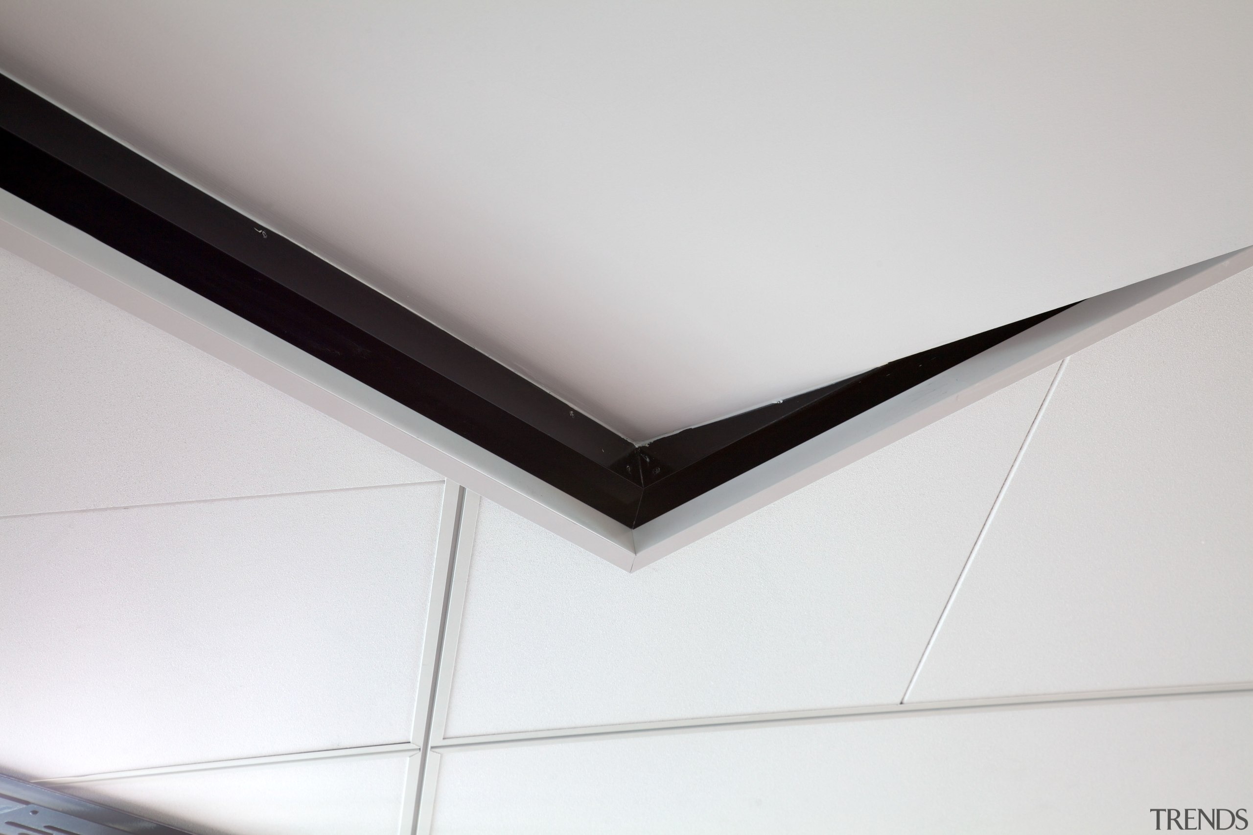 Highly durable acoustic ceiling with distinctive design-driven features angle, ceiling, daylighting, light, line, product design, gray, white