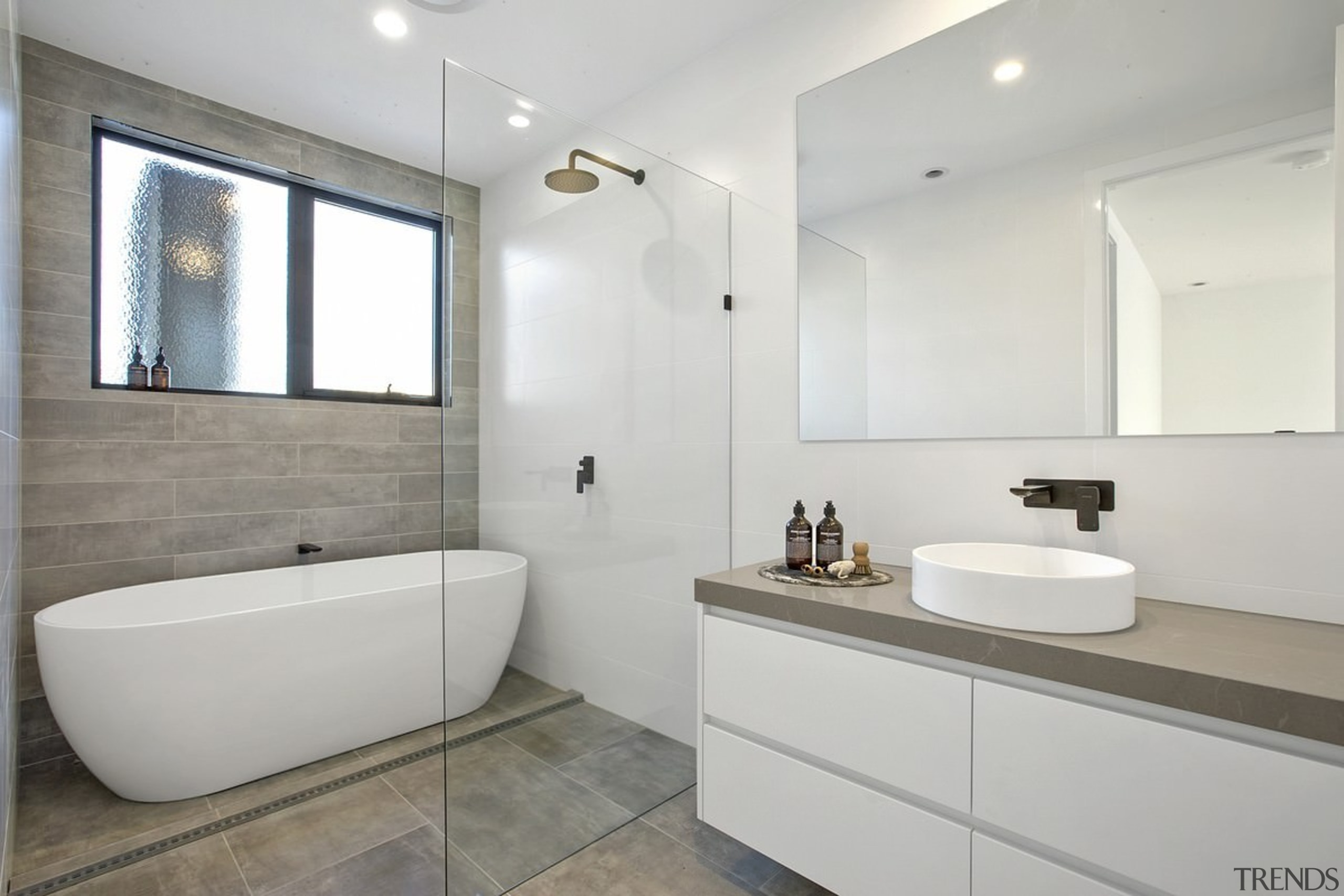 A wet room means fewer moisture control issues architecture, bathroom, floor, home, interior design, product design, property, real estate, room, gray