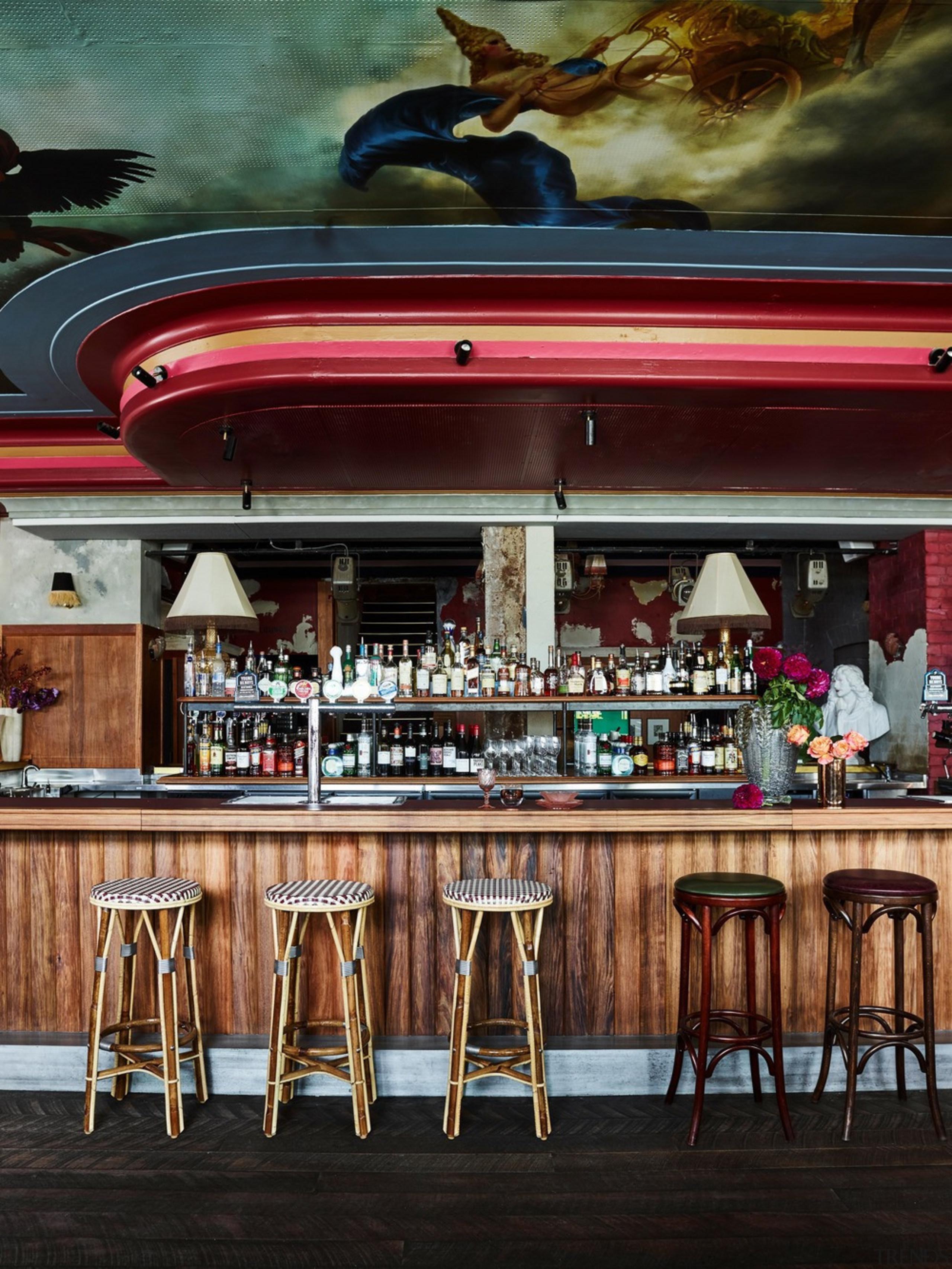 The main bar features a bespoke cathedral-esque/Biblical fresco bar, restaurant, black