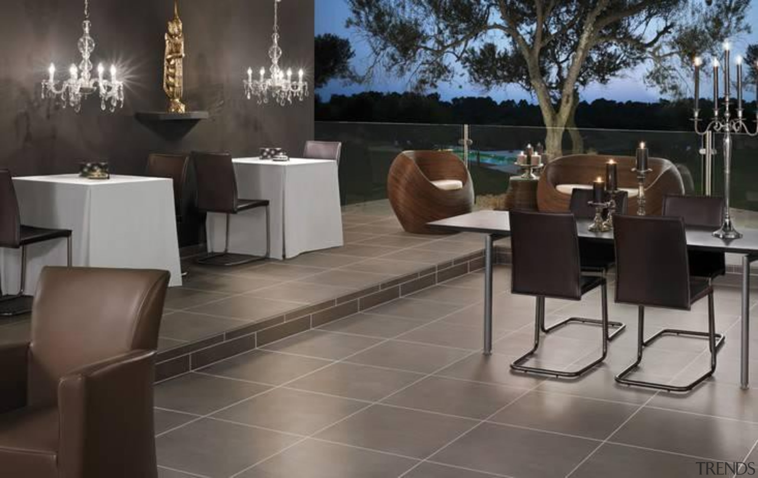 Earthstone clay grey dining floor tiles - Earthstone chair, floor, flooring, furniture, interior design, restaurant, table, tile, gray, black