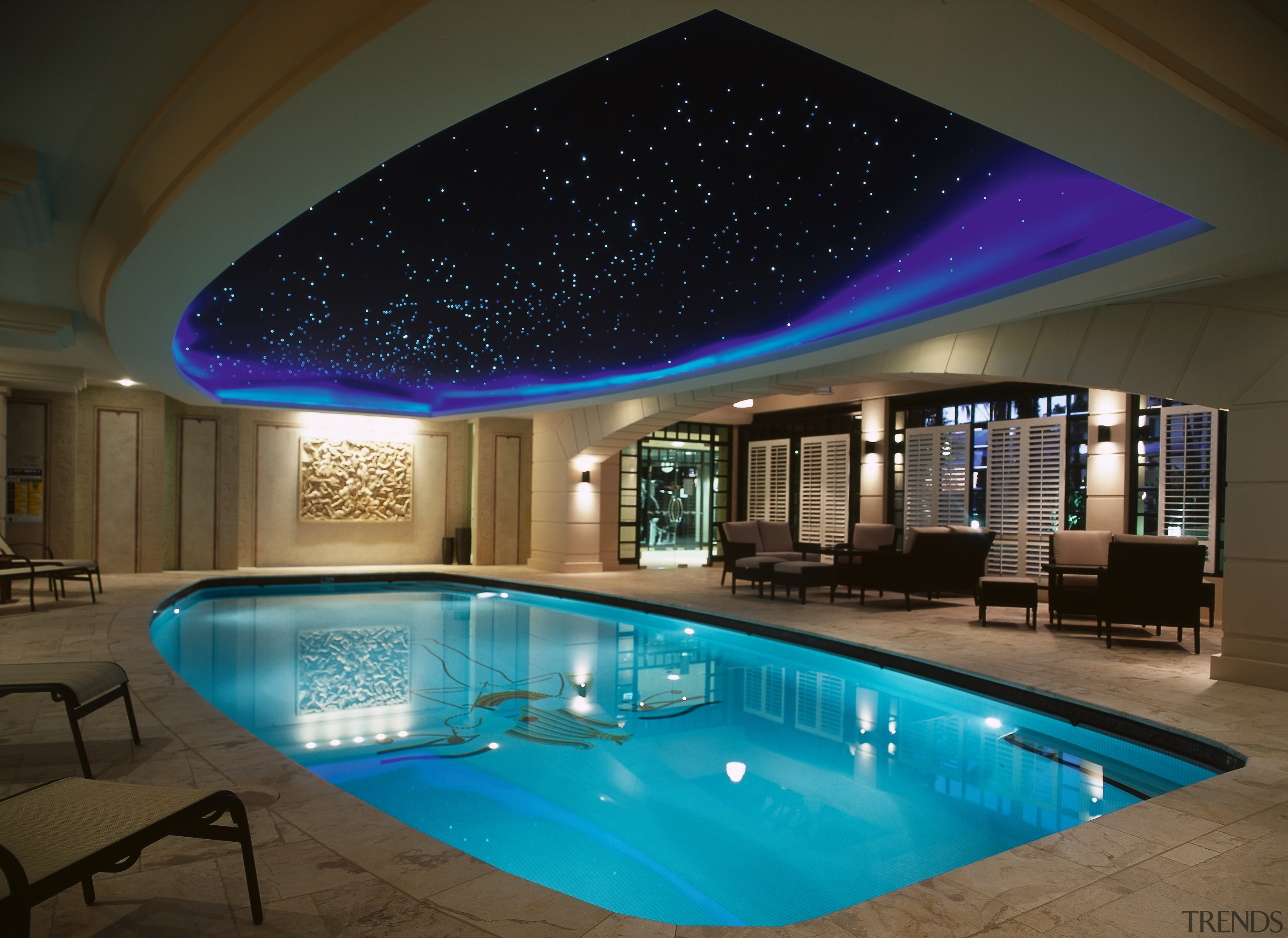 interior view of indoor heated pool in the ceiling, daylighting, estate, home, interior design, light, lighting, property, real estate, swimming pool, brown, black