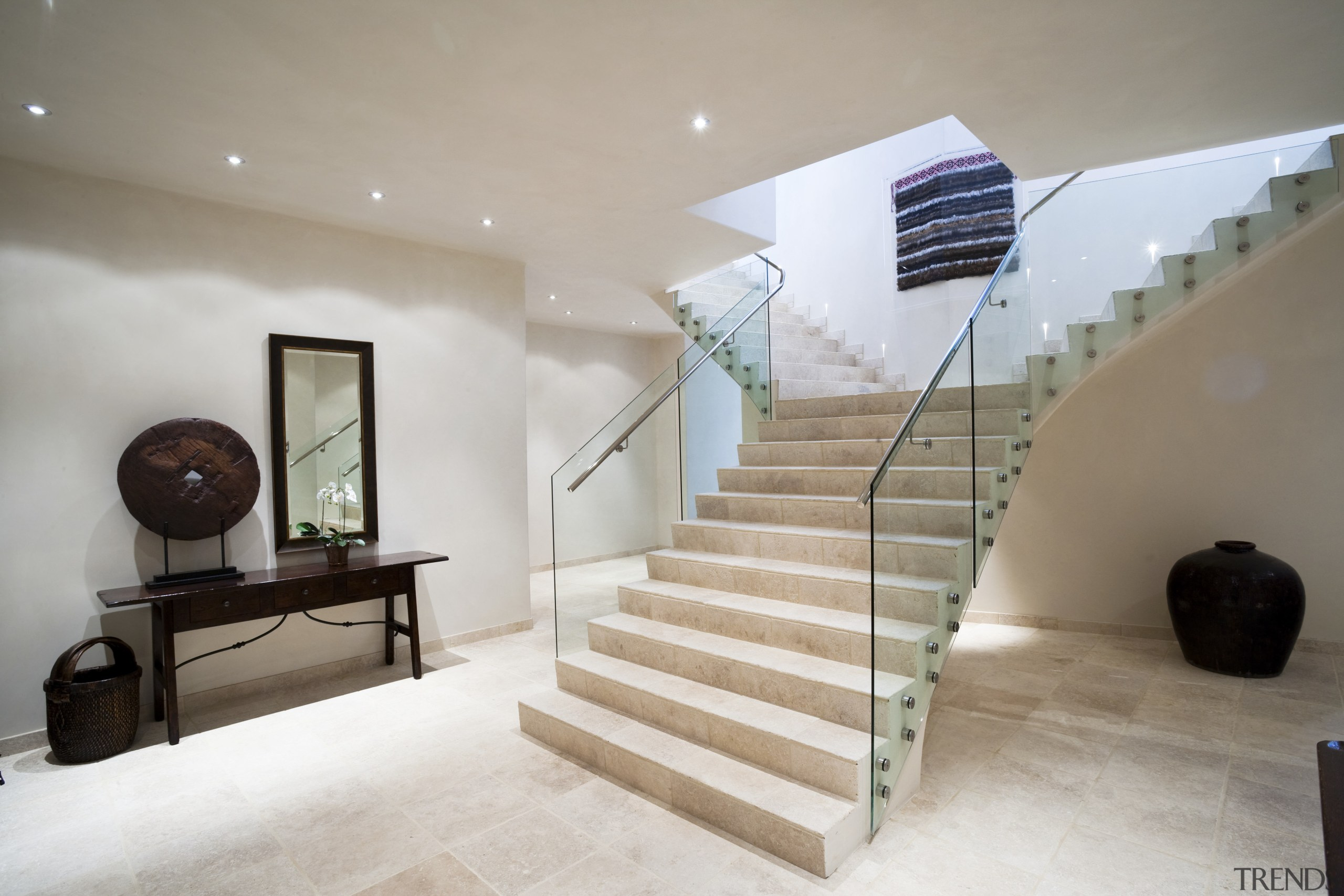 Interior view of stairway at Mediterranean styled home architecture, ceiling, estate, floor, flooring, handrail, home, house, interior design, property, real estate, stairs, gray