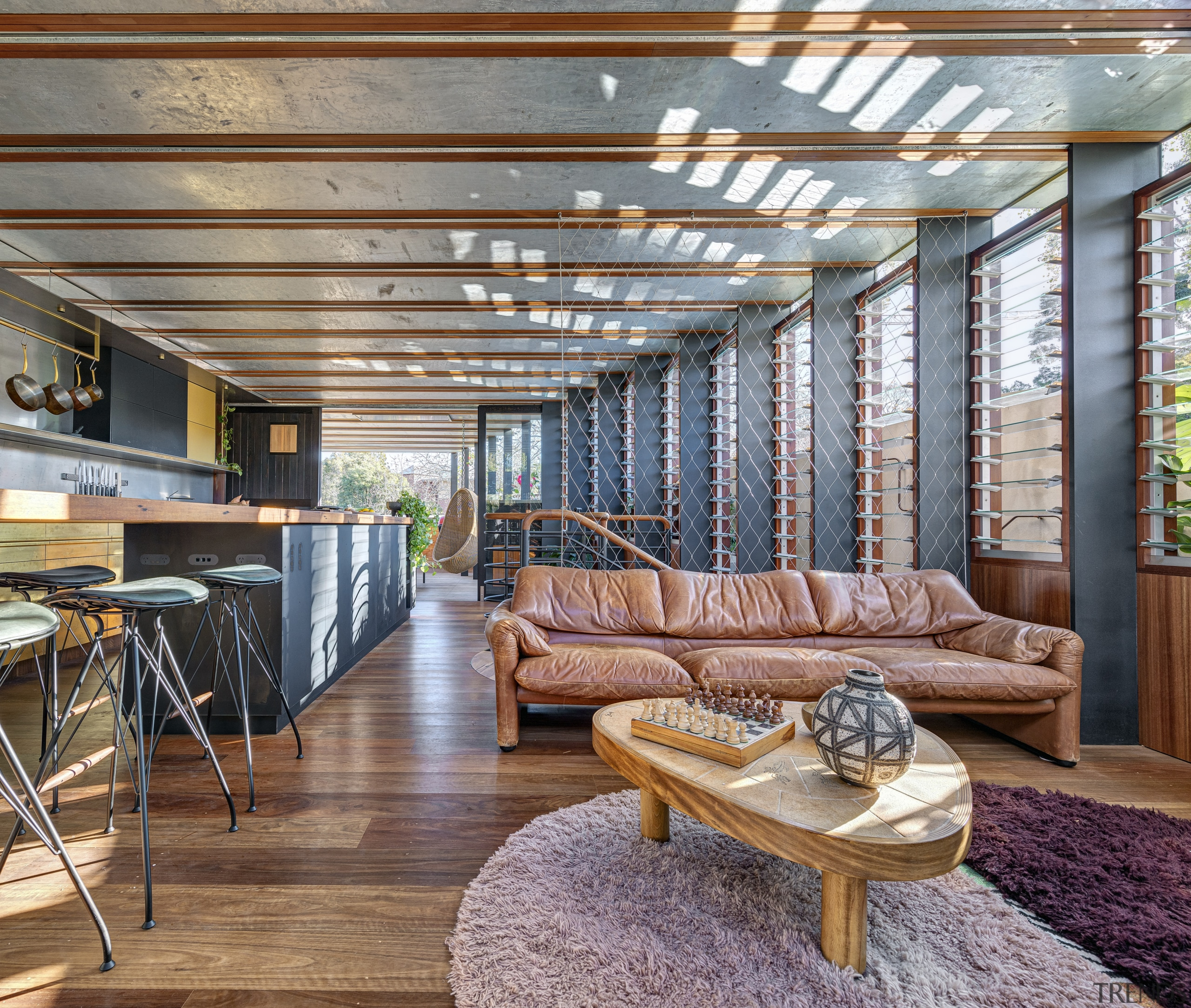 All this family home's day-to-day living spaces – gray, brown