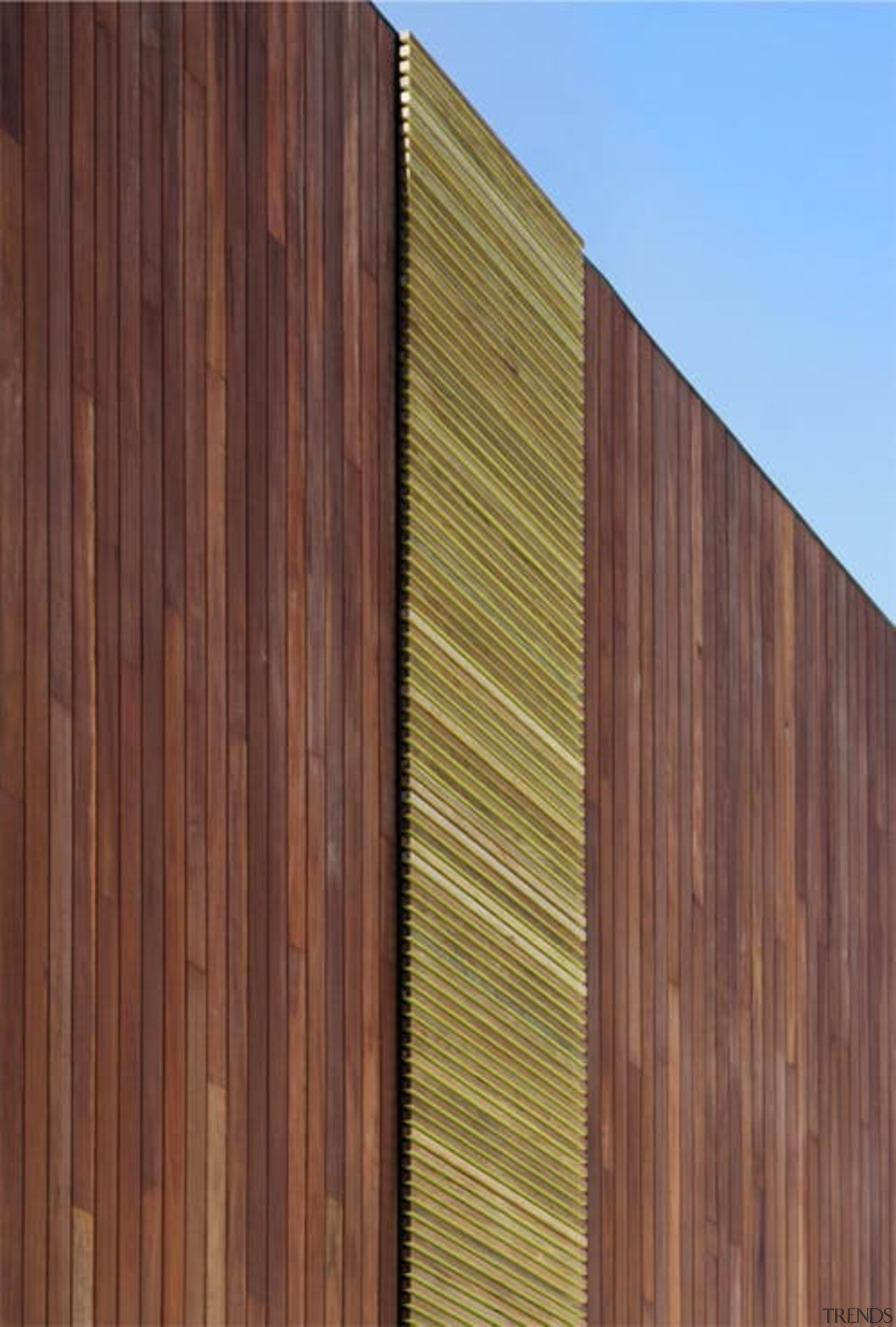 Another set of wood panels runs up the architecture, facade, hardwood, line, lumber, plywood, siding, wall, wood, wood stain, red