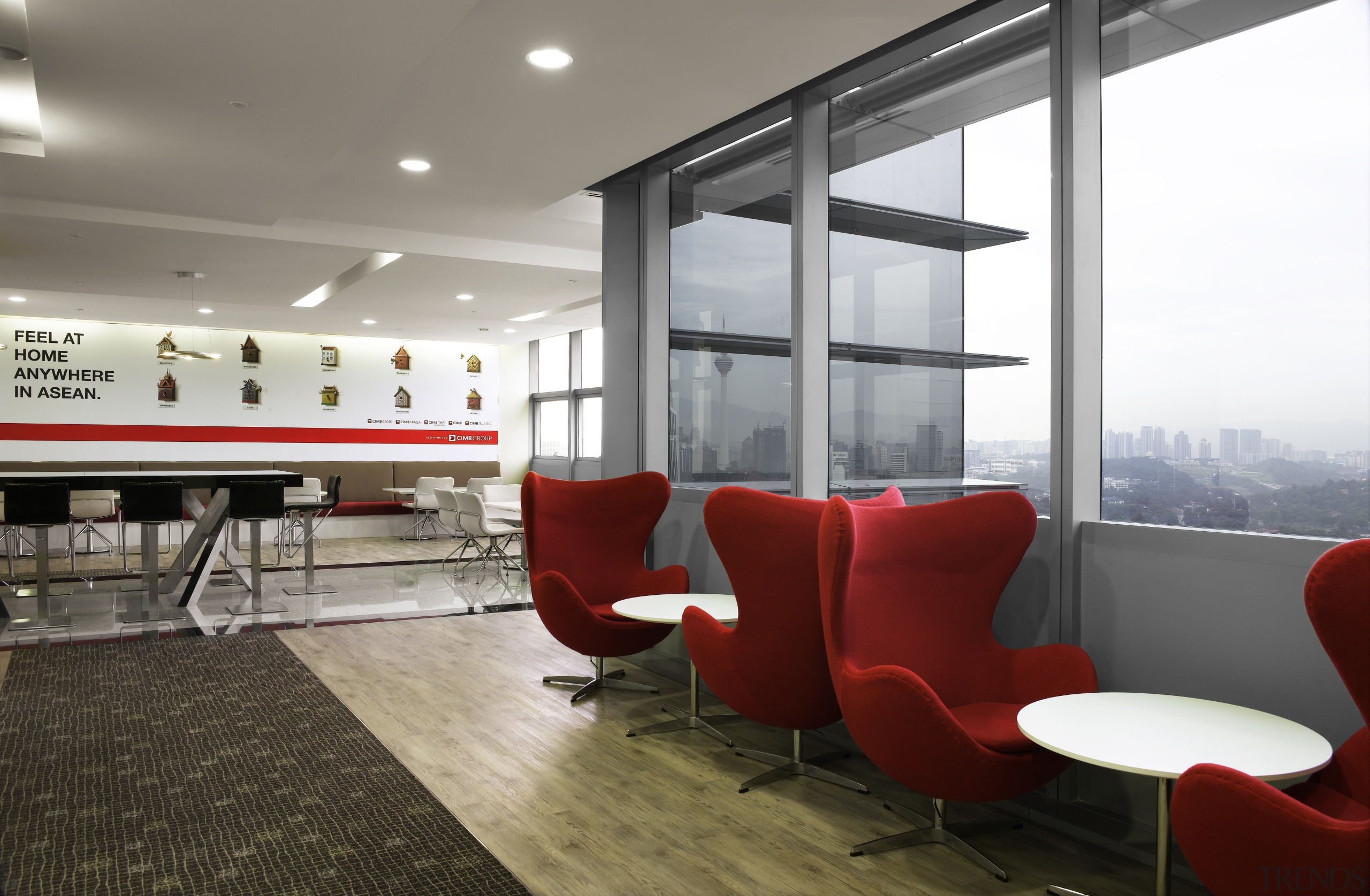 Work spaces are pushed to the light-filled outer architecture, ceiling, interior design, office, gray, white