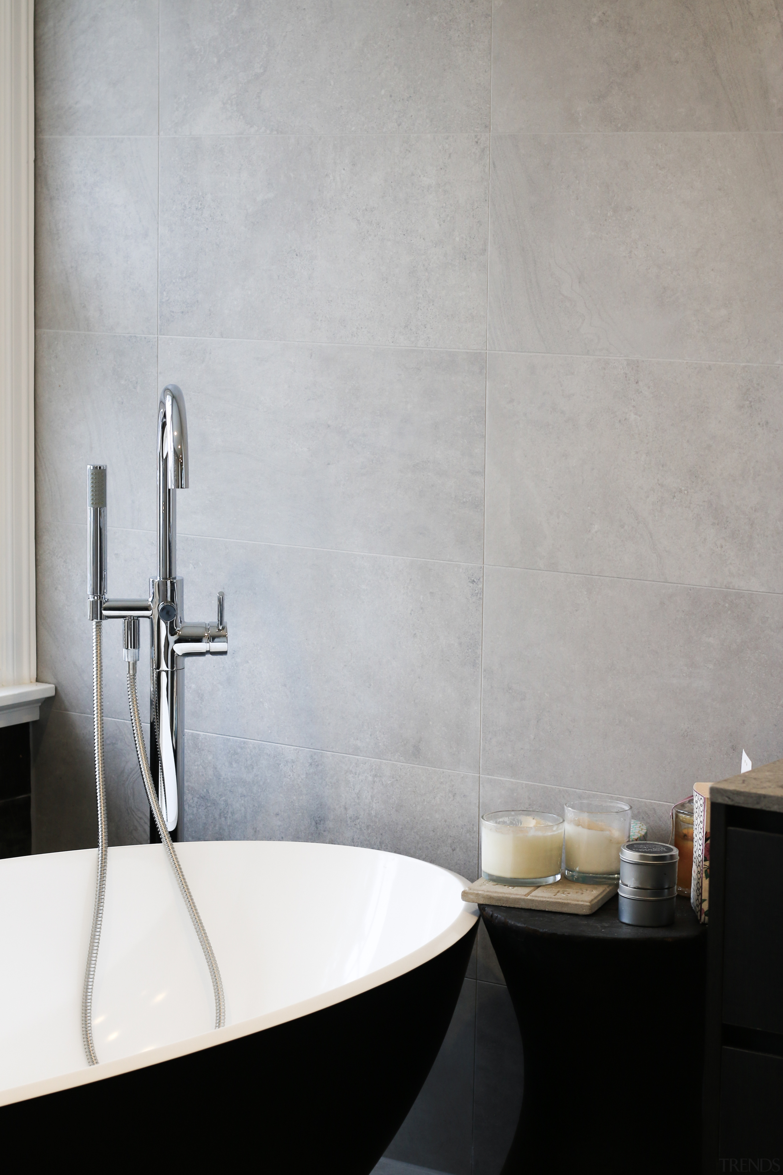 Black, white and grey – this master ensuite architecture, bathroom, bathroom accessory, bathroom sink, ceramic, floor, flooring, interior design, material property, plumbing fixture, property, room, sink, tap, tile, wall, gray