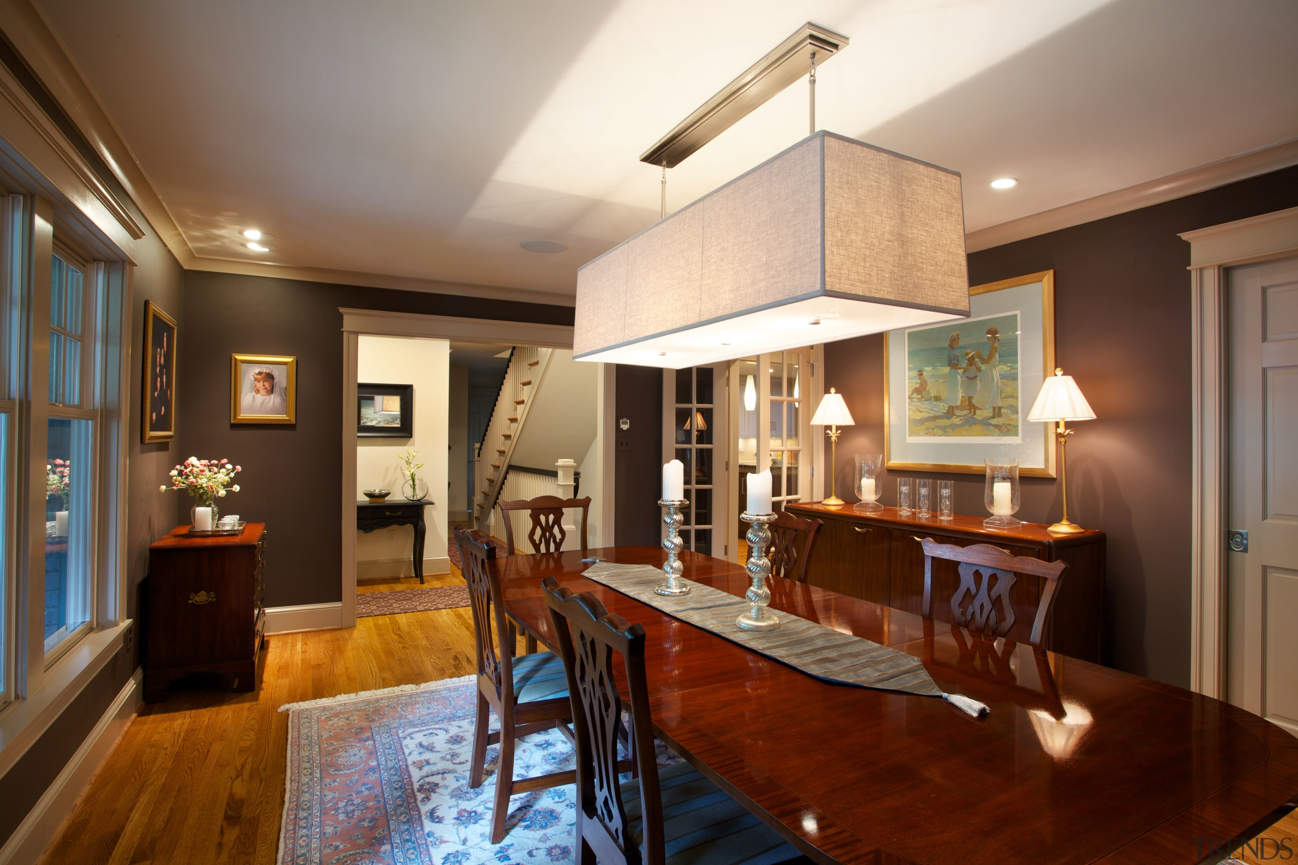 The reconfigured entryway opens to the dining room, ceiling, dining room, home, interior design, living room, real estate, room, brown