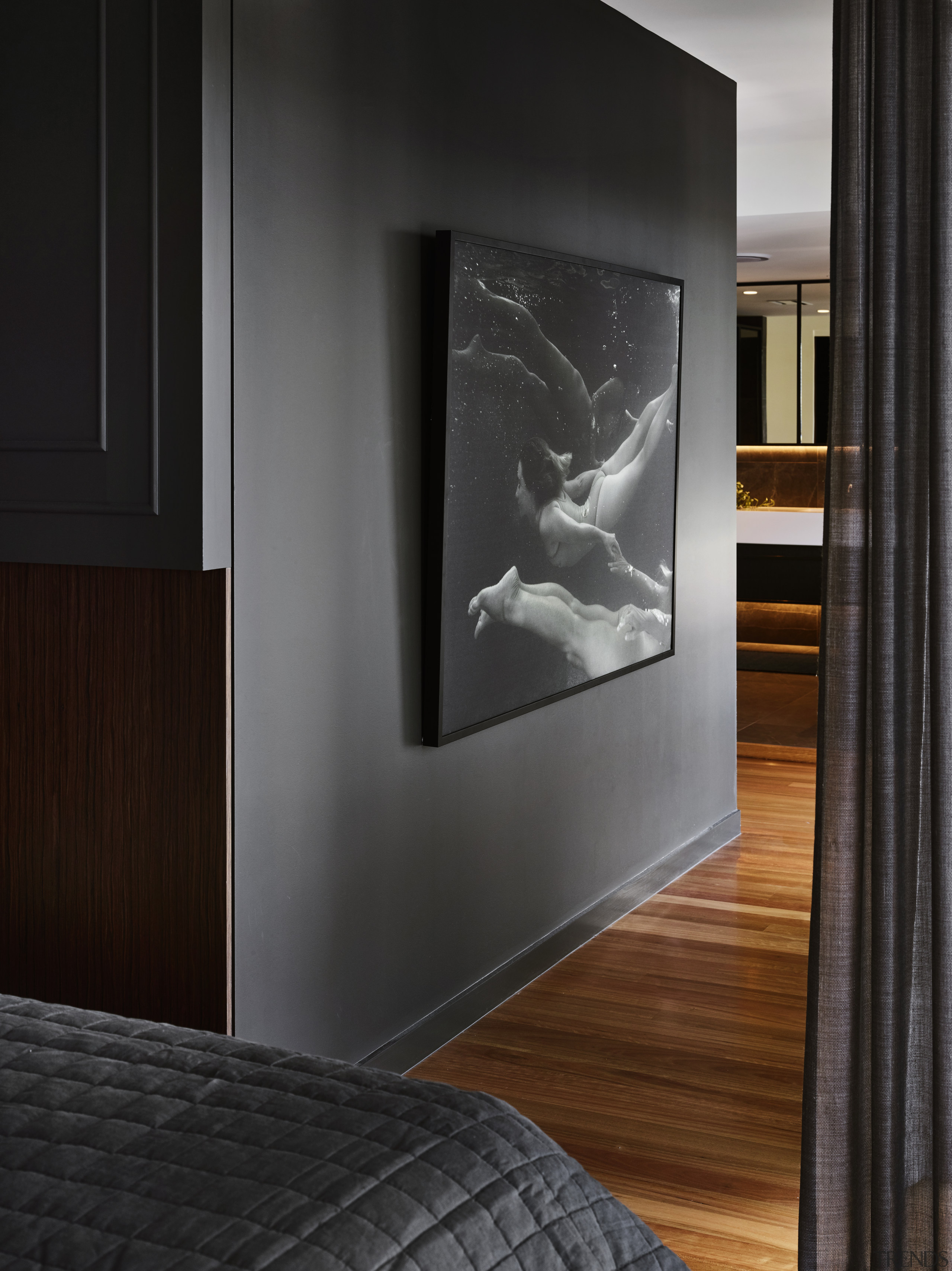 For this master suite by Darren James Interiors, black-and-white, floor, furniture, interior design, room, black