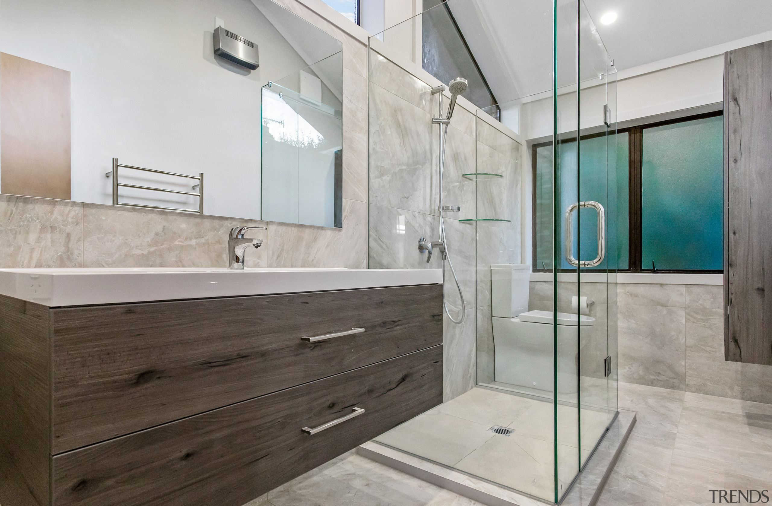 EJ Building – Highly Commended – 2019 TIDA architecture, bathroom, bathroom accessory, building, cabinetry, ceiling, countertop, floor, flooring, furniture, glass, home, house, interior design, material property, plumbing fixture, property, real estate, room, tap, tile, wall, gray