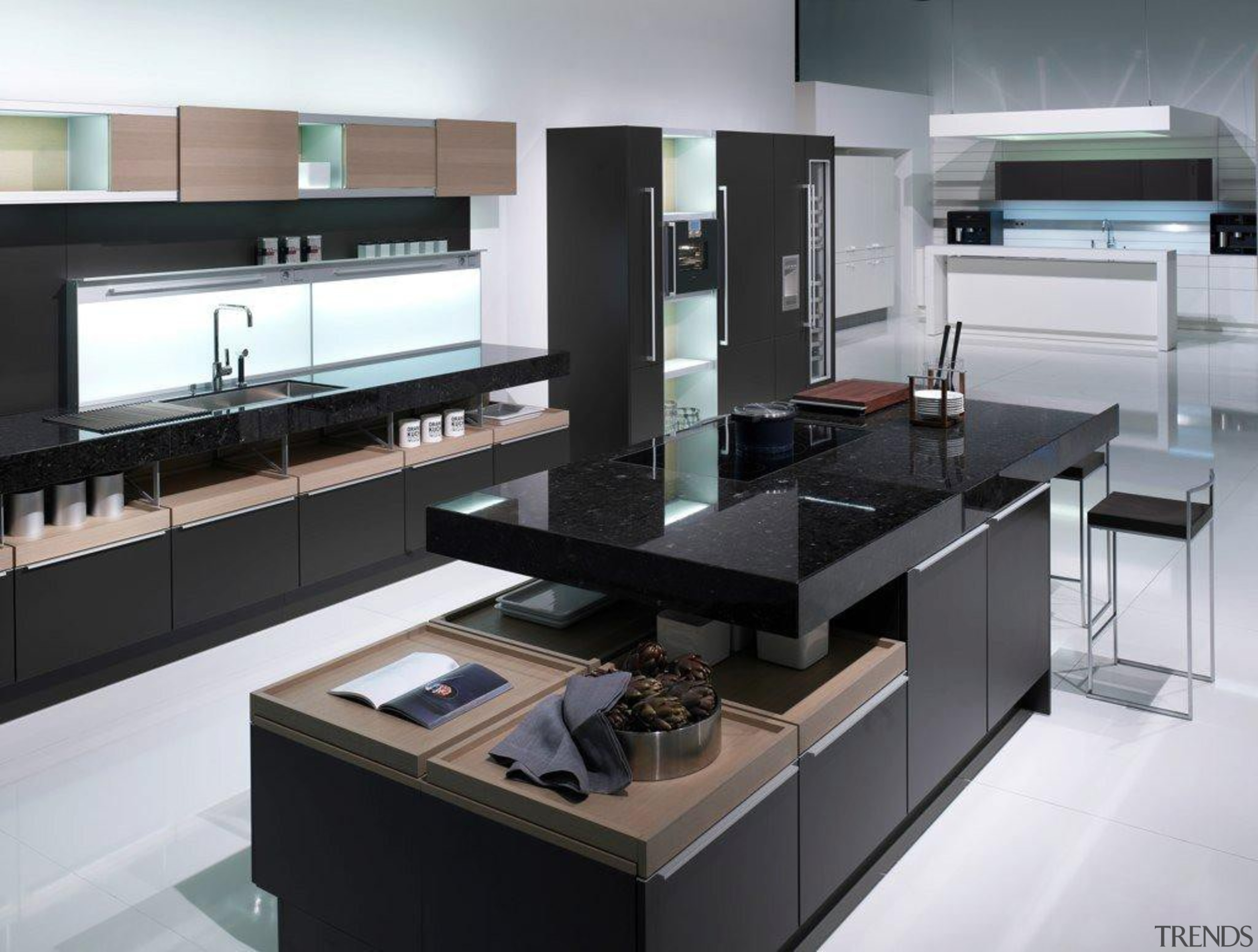 Showroom KitchenFor more information, please visit Poggenpohl countertop, interior design, kitchen, product design, black, white