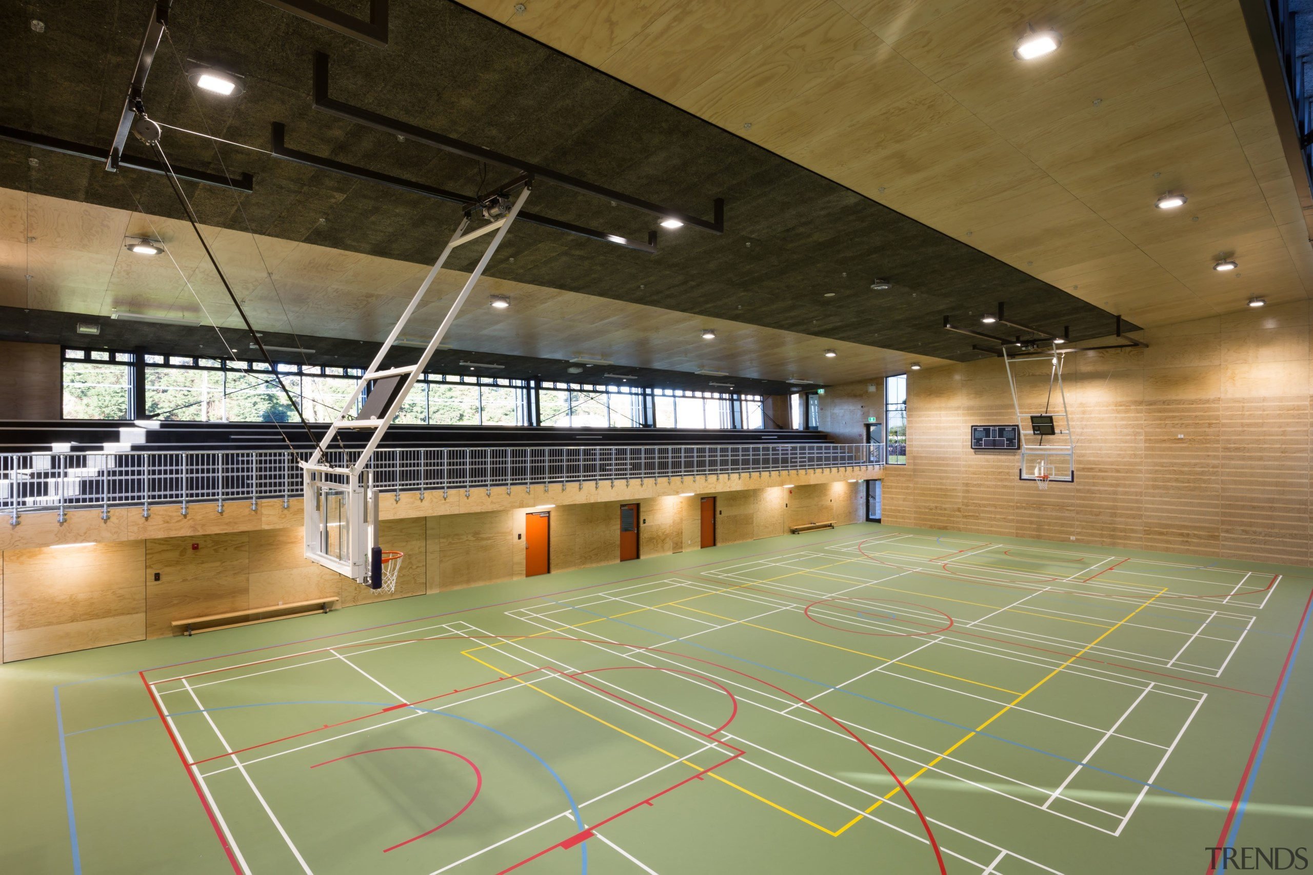 Acoustic ceiling panels keep noise under control in arena, basketball court, floor, hall, indoor games and sports, leisure, leisure centre, sport venue, sports, structure, brown
